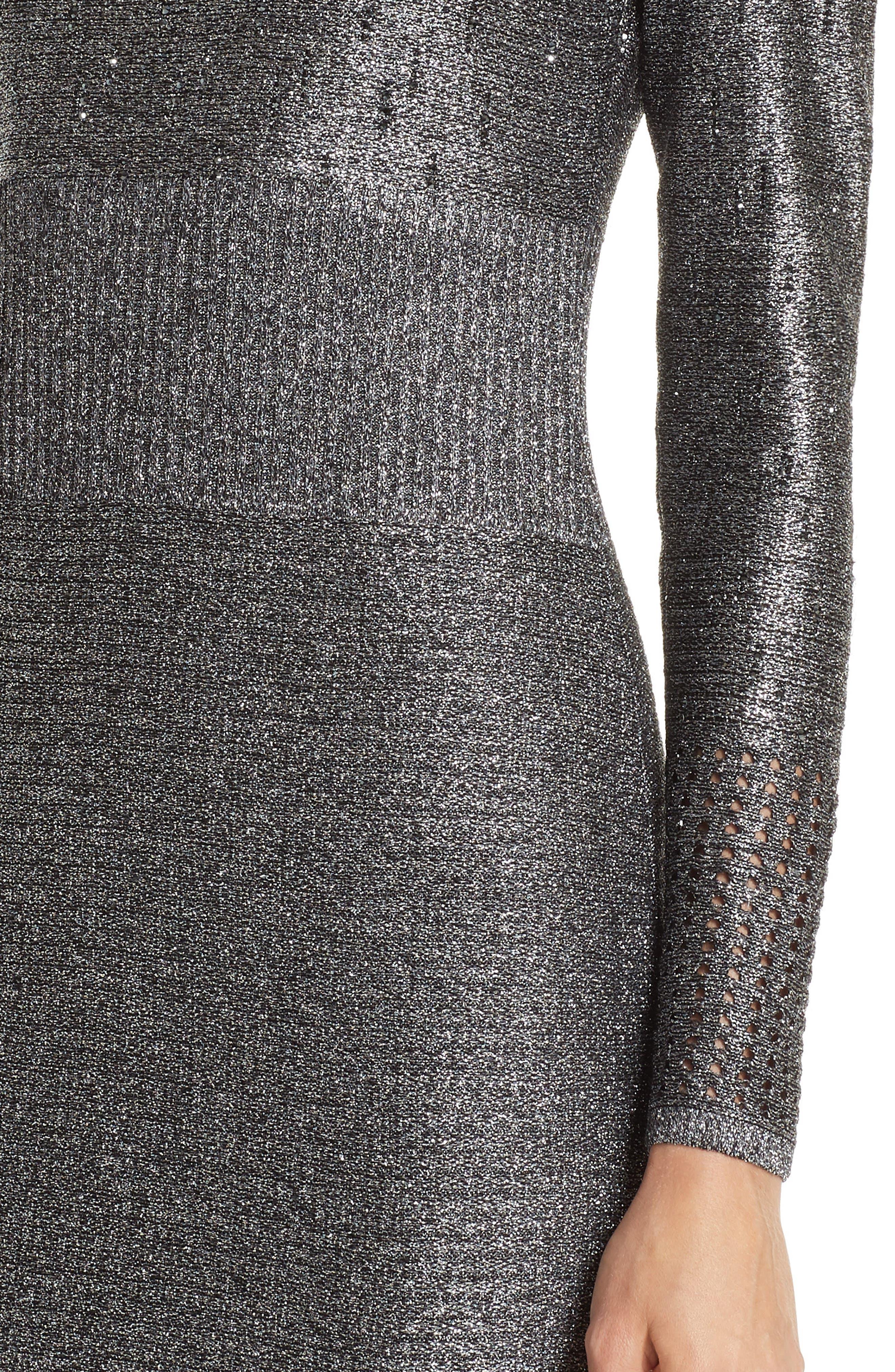 ST. JOHN COLLECTION, Metallic Plaited Mixed Knit Gown, Alternate thumbnail 4, color, GUNMETAL/ CAVIAR