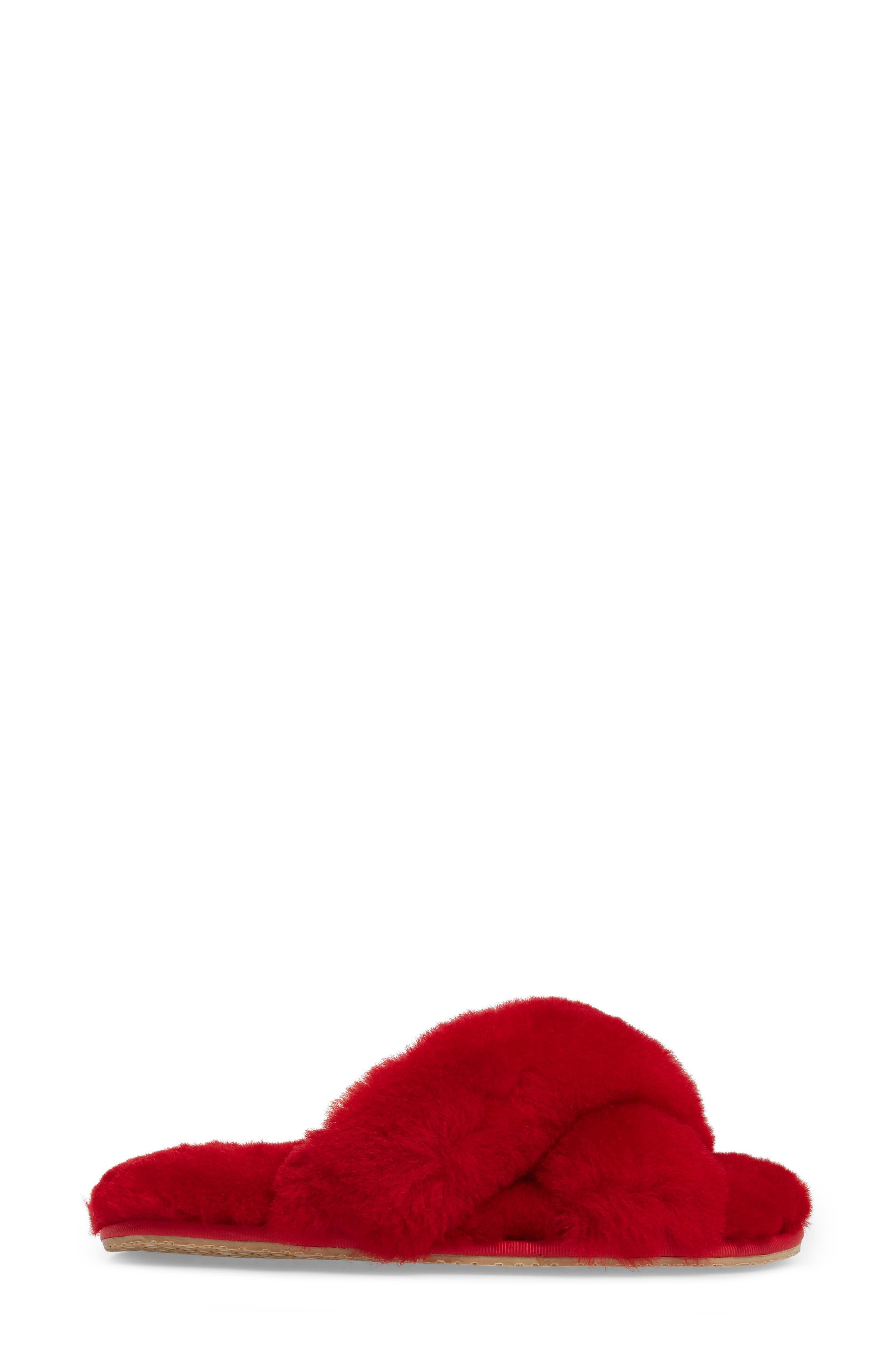PATRICIA GREEN, Mt. Hood Genuine Shearling Slipper, Alternate thumbnail 3, color, RED