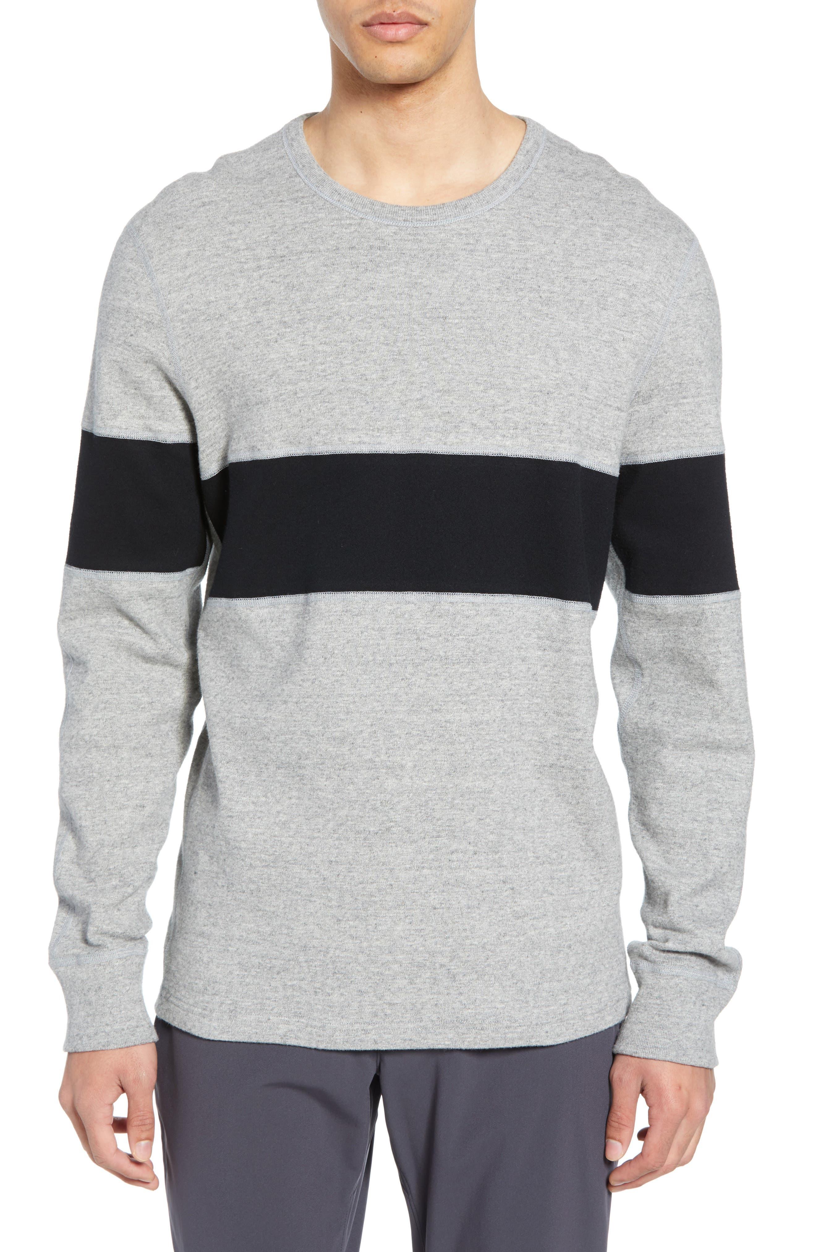 REIGNING CHAMP, Rugby Crewneck Sweatshirt, Main thumbnail 1, color, MEDIUM GREY/ BLACK
