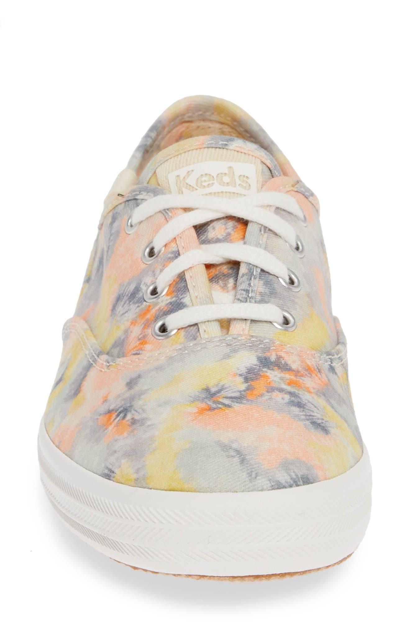 KEDS<SUP>®</SUP>, Champion Tie Dye Sneaker, Alternate thumbnail 4, color, PINK MULTI