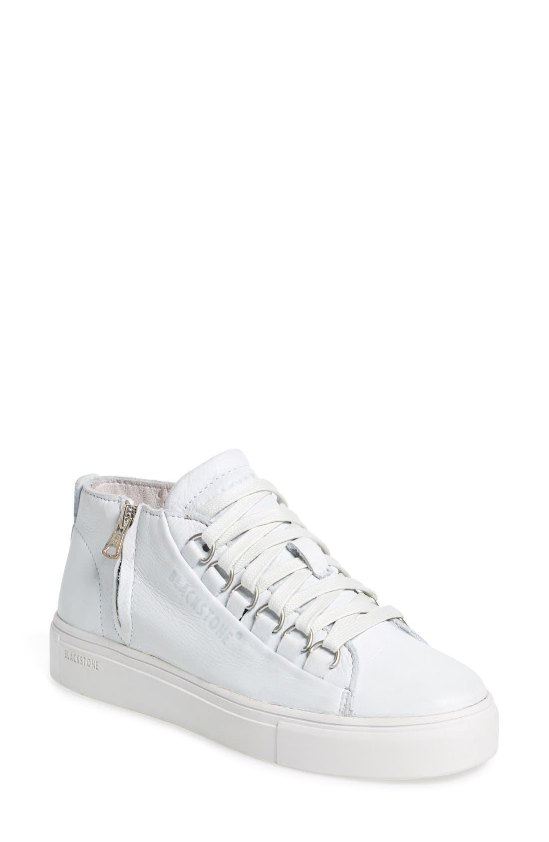 BLACKSTONE, 'LL60' Midi Sneaker, Main thumbnail 1, color, WHITE LEATHER