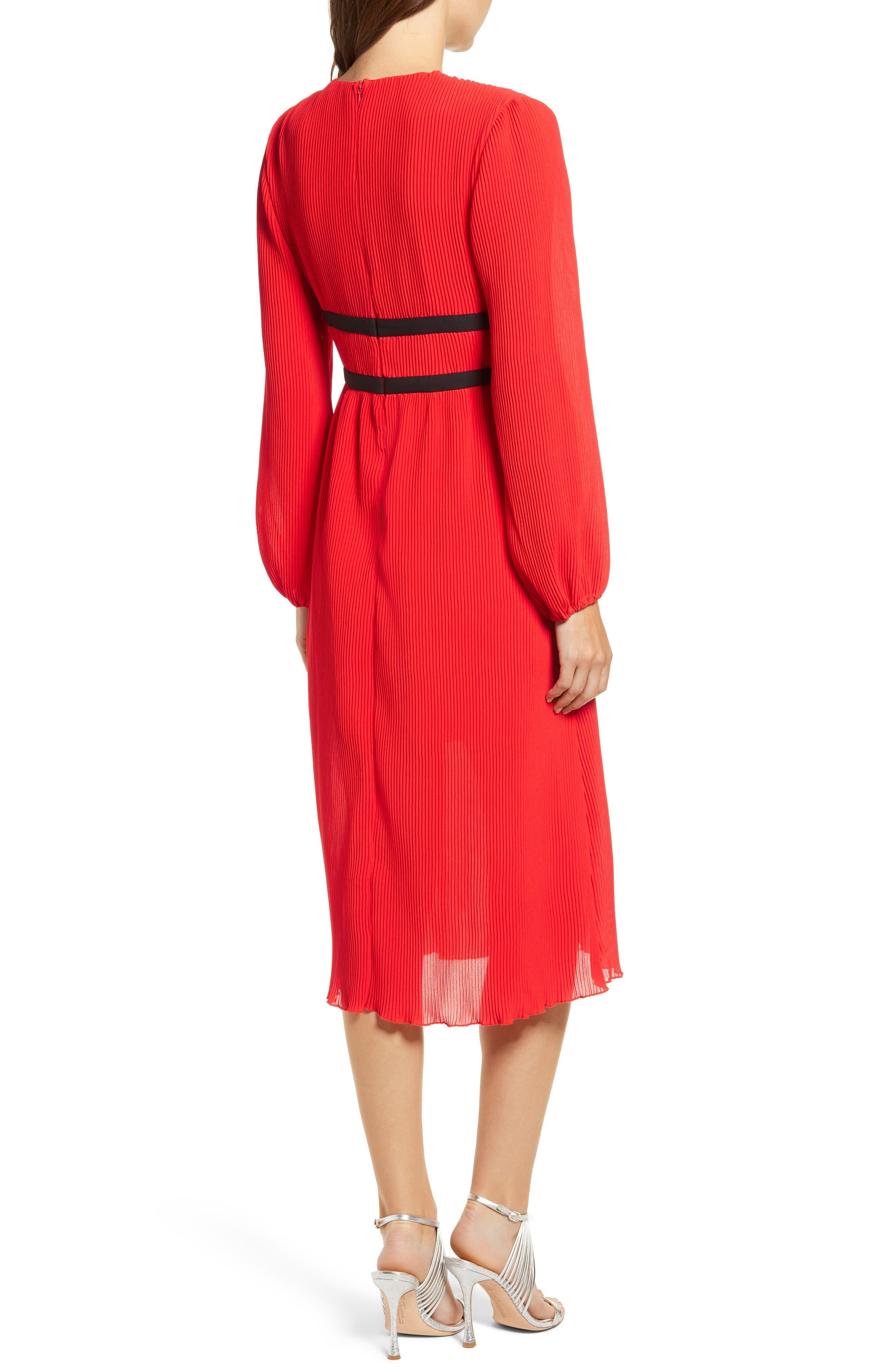 WAYF, Patton Plunge Plissé Dress, Alternate thumbnail 2, color, FIRE RED