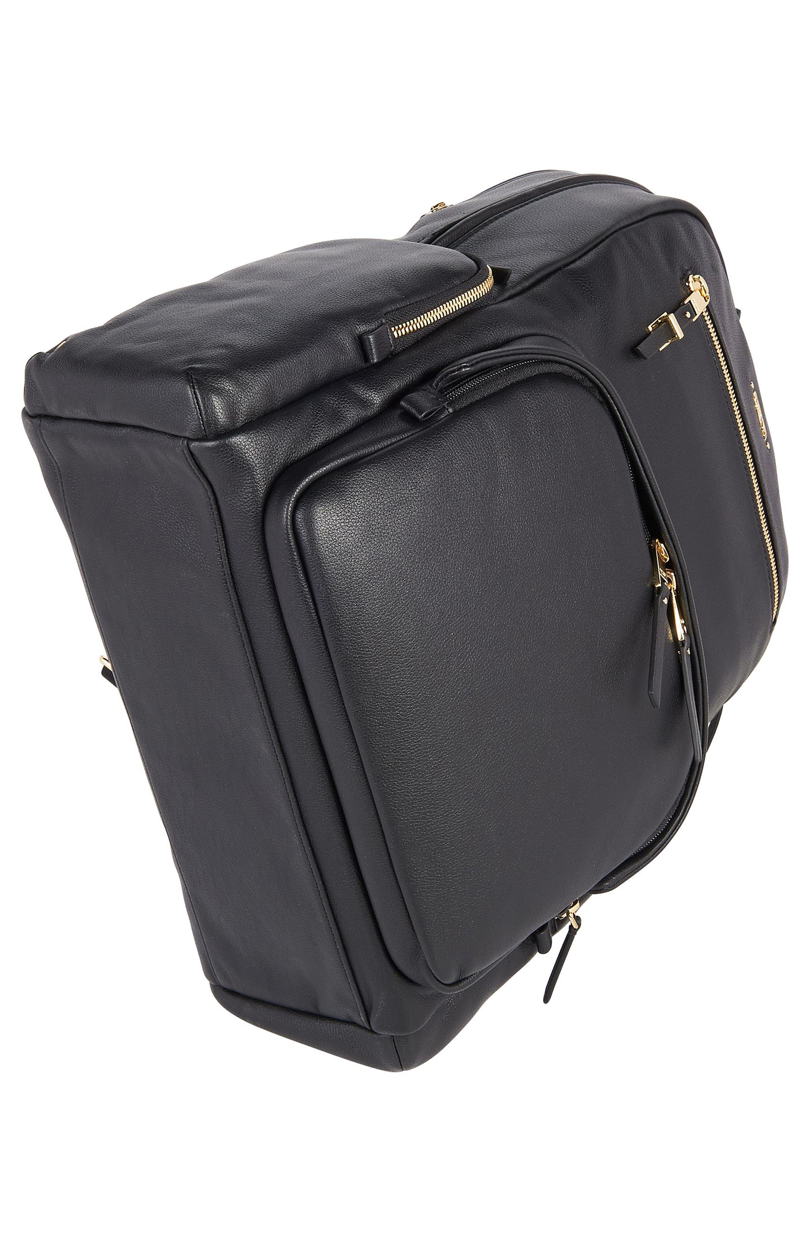 TUMI, Voyageur Carson Leather Backpack, Alternate thumbnail 5, color, BLACK