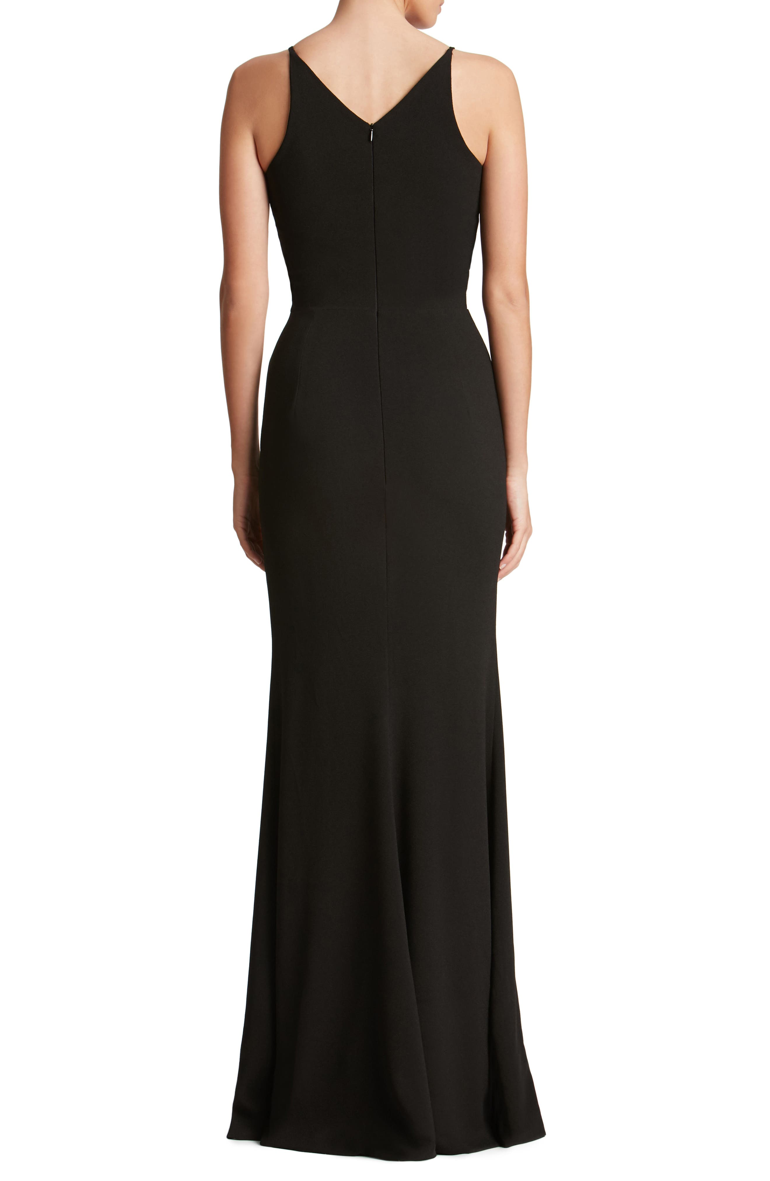 DRESS THE POPULATION, Iris Slit Crepe Gown, Alternate thumbnail 2, color, BLACK
