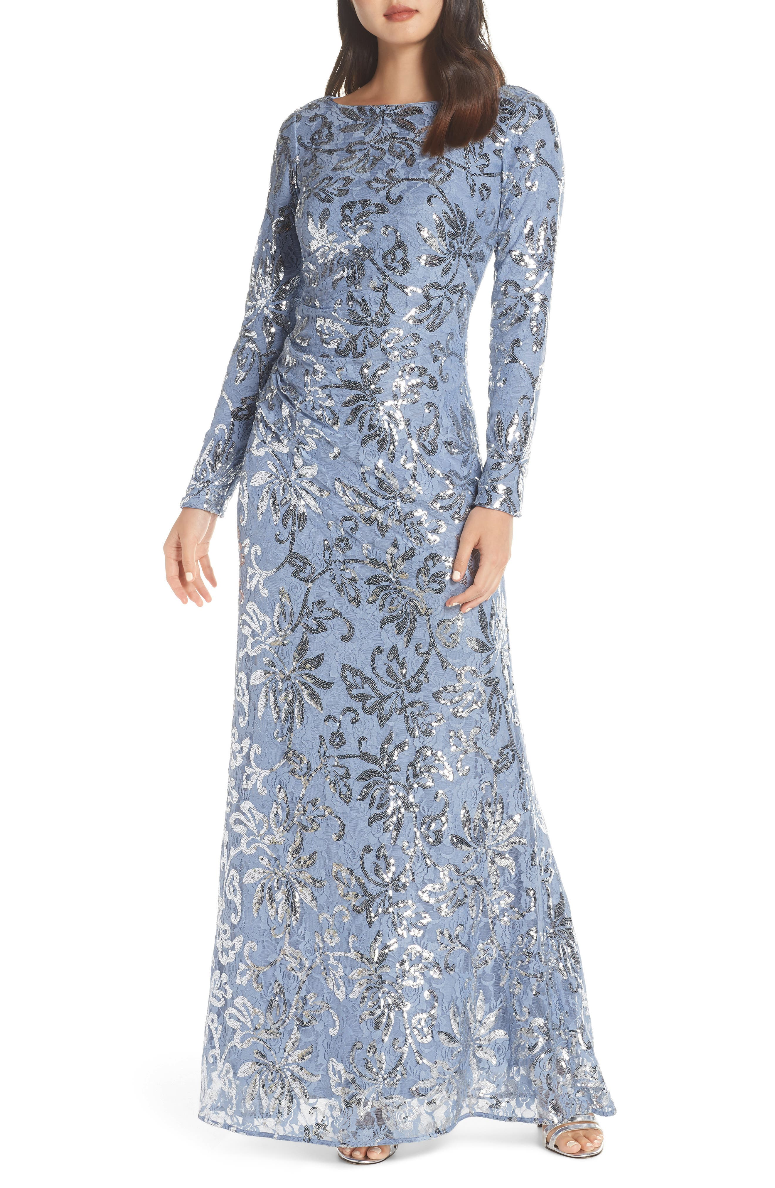 VINCE CAMUTO, Lace & Sequin Evening Dress, Main thumbnail 1, color, SKY BLUE