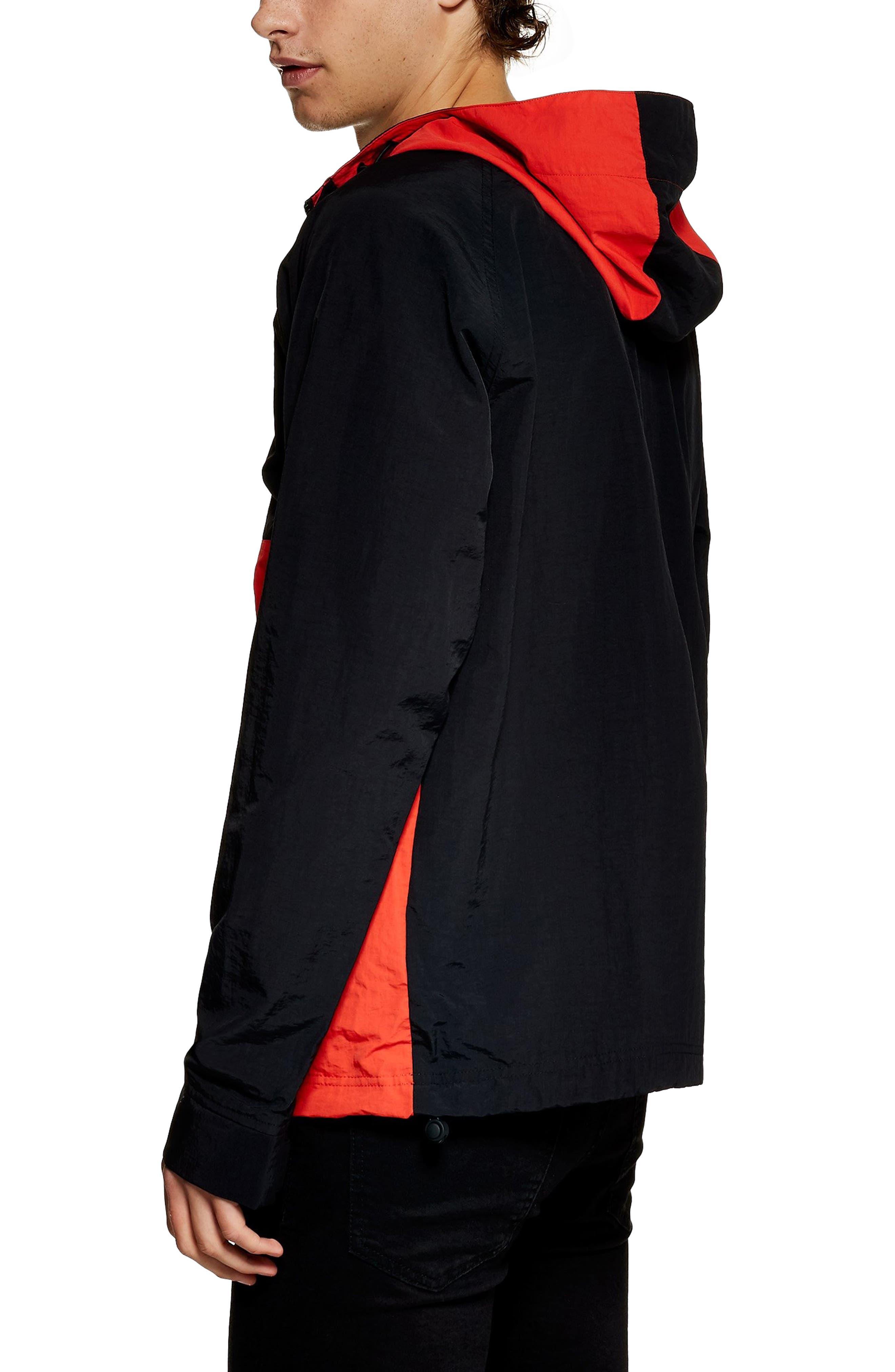 TOPMAN, Hooded Quarter Zip Windbreaker, Alternate thumbnail 2, color, RED MULTI