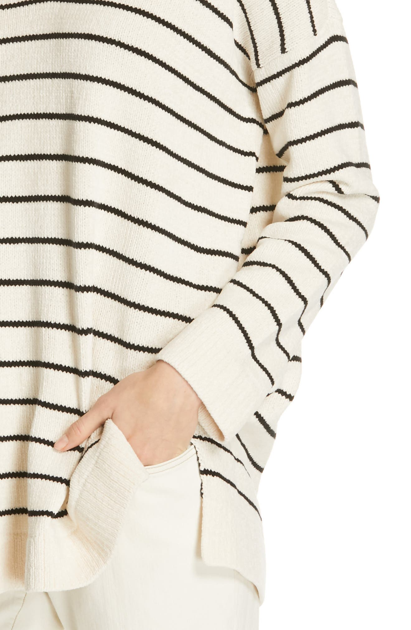 EILEEN FISHER, V-Neck Tunic Sweater, Alternate thumbnail 4, color, SOFT WHITE/ BLACK