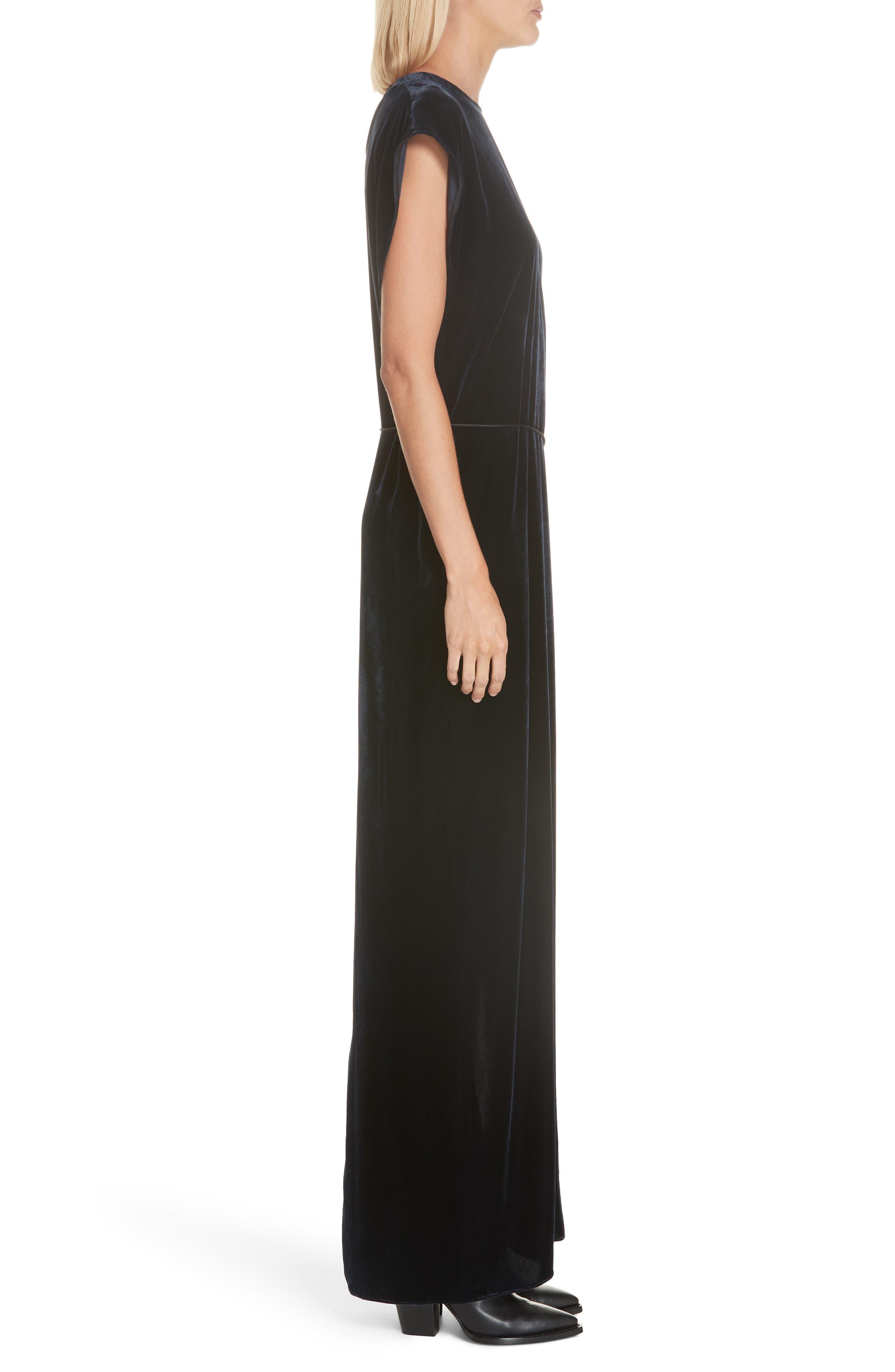 NILI LOTAN, Lillian Velvet Dress, Alternate thumbnail 3, color, DARK NAVY