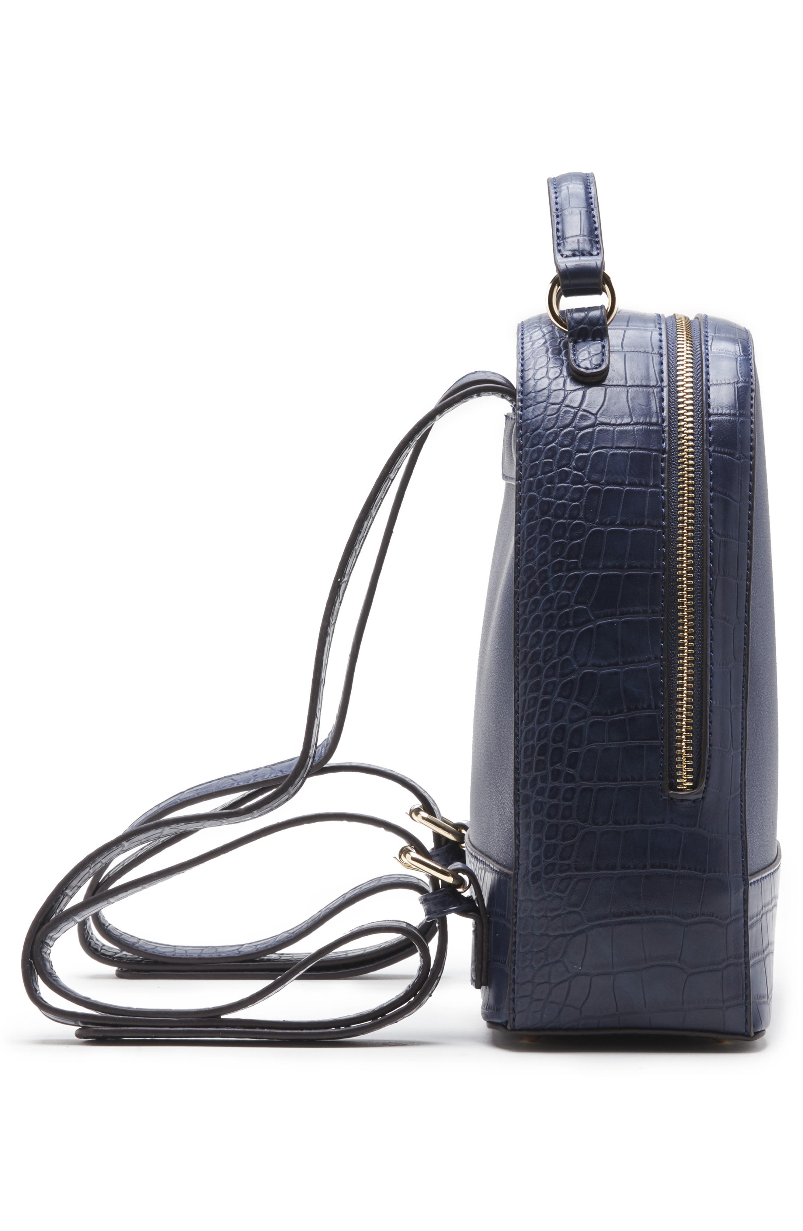 SOLE SOCIETY, Jamya Croc Embossed Faux Leather Backpack, Alternate thumbnail 5, color, MIDNIGHT