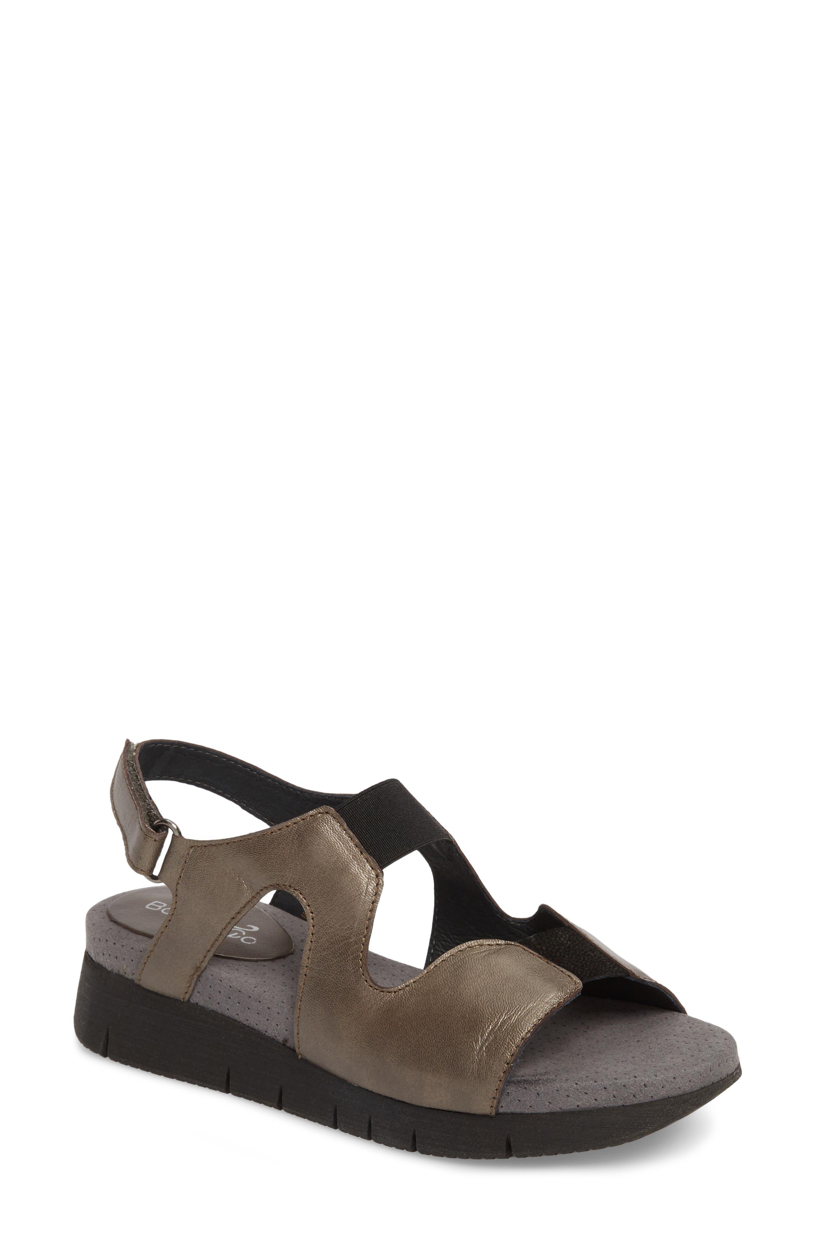 BOS. & CO. Pori Sandal, Main, color, PEWTER/ BLACK LEATHER