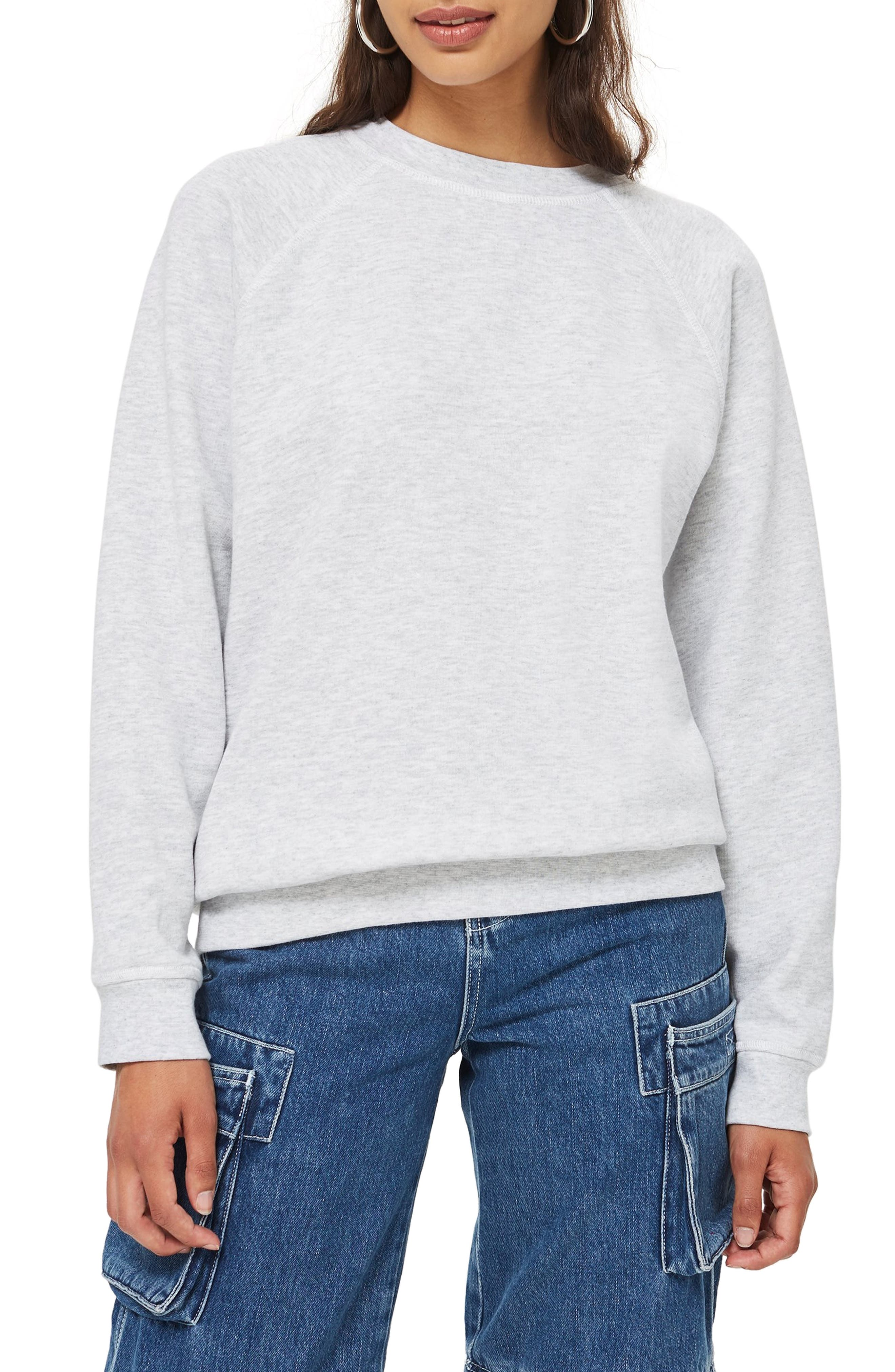 TOPSHOP, Crewneck Sweatshirt, Main thumbnail 1, color, 020