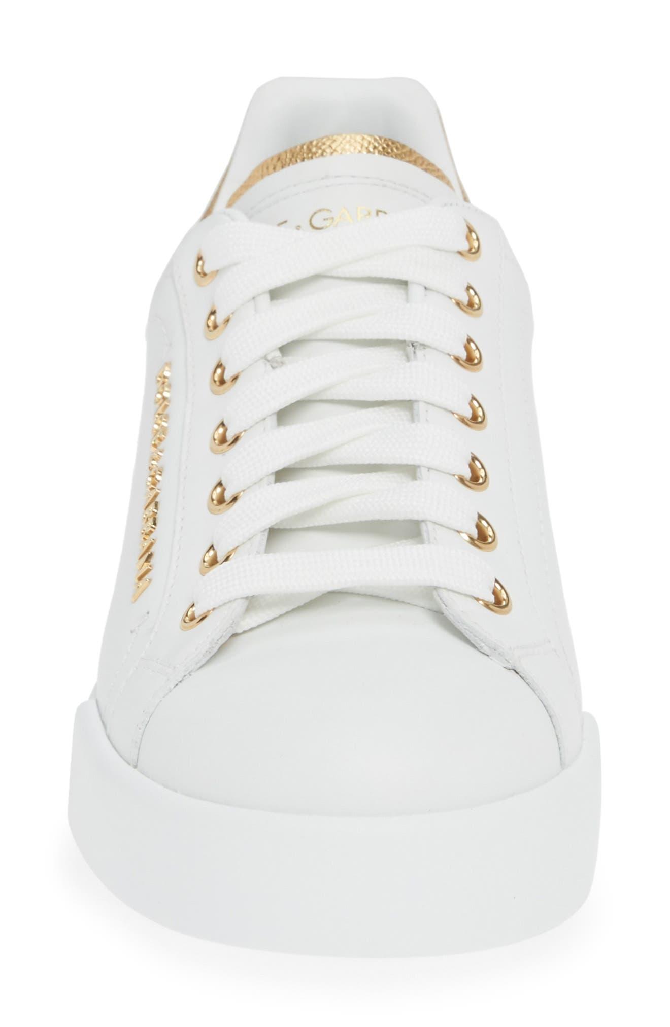 DOLCE&GABBANA, Portofino Embellished Sneaker, Alternate thumbnail 4, color, WHITE/ GOLD