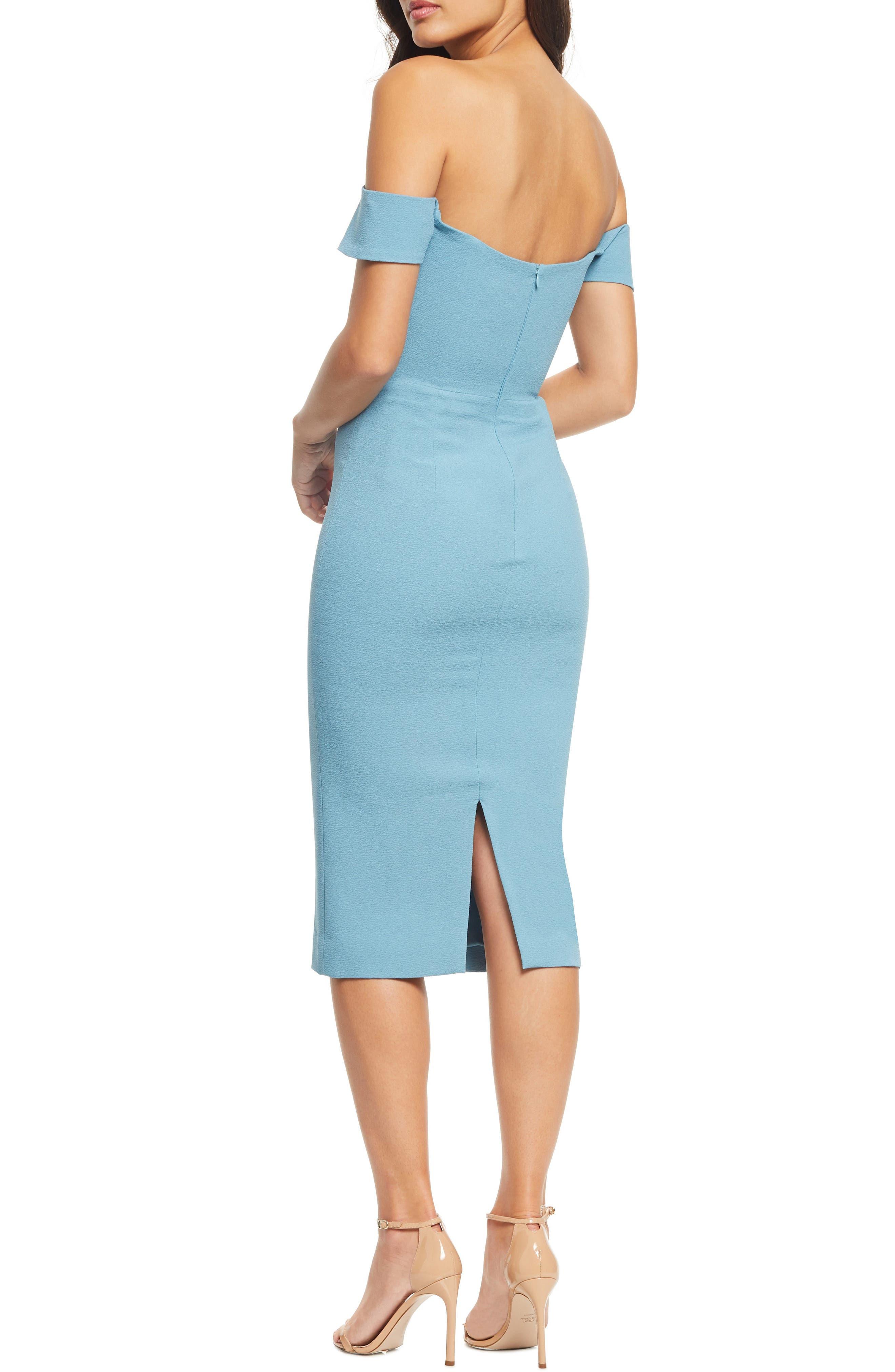 DRESS THE POPULATION, Bailey Off the Shoulder Body-Con Dress, Alternate thumbnail 4, color, SEA BREEZE