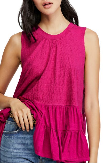 Free People Right On Time Tunic Top In Raspberry