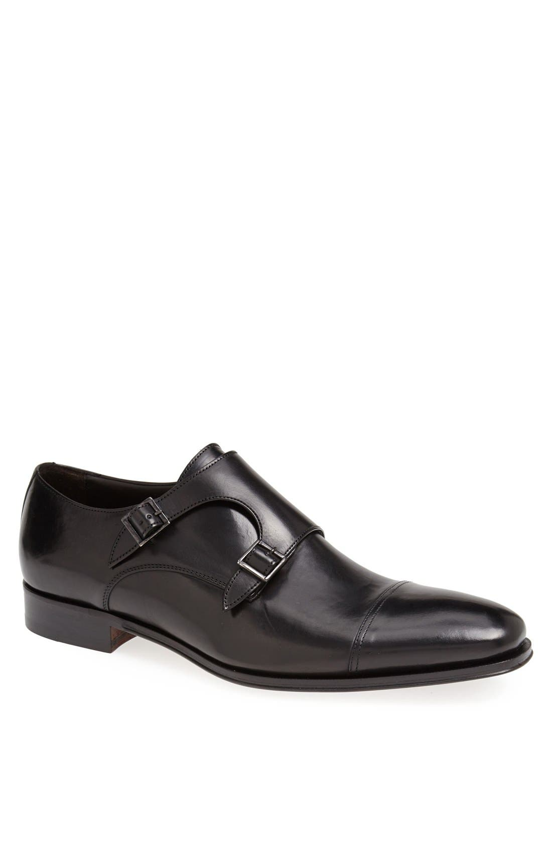 TO BOOT NEW YORK, 'Grant' Double Monk Shoe, Main thumbnail 1, color, BLACK CALFSKIN