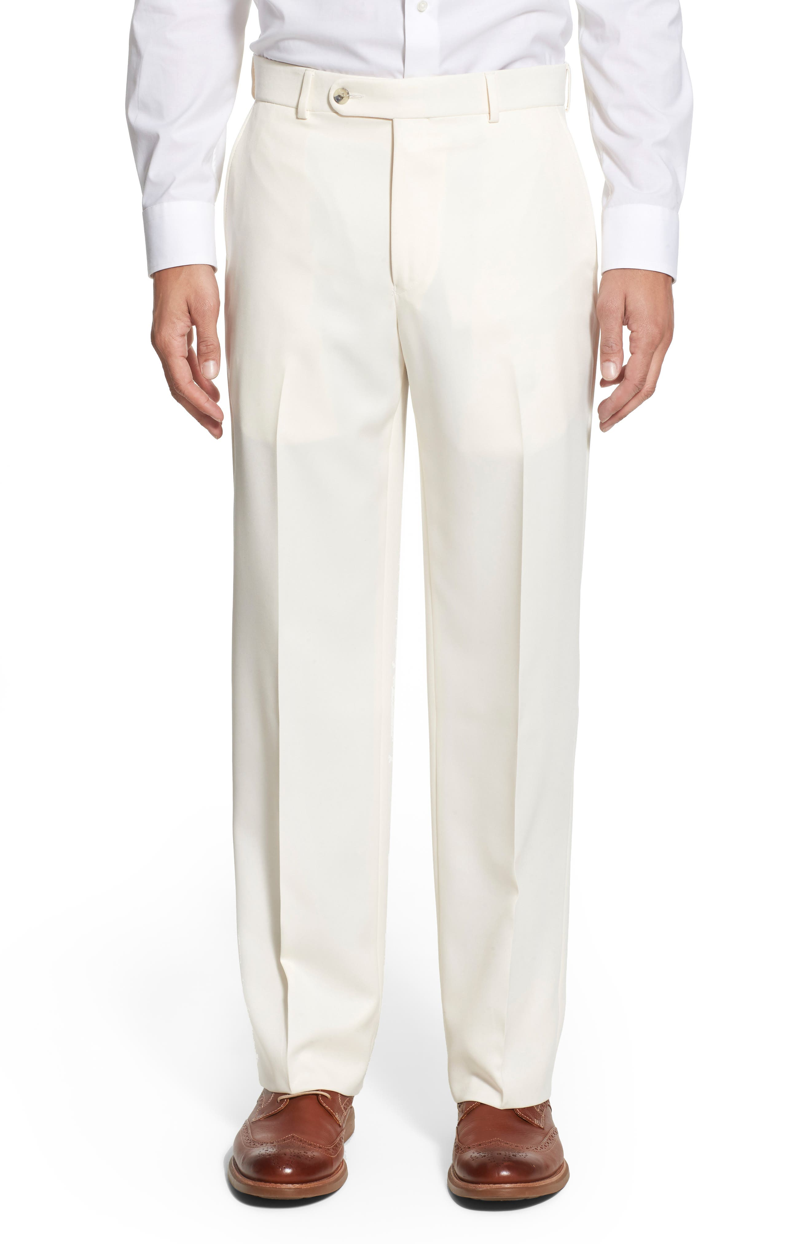 BALLIN, Regular Fit Flat Front Trousers, Alternate thumbnail 7, color, OYSTER