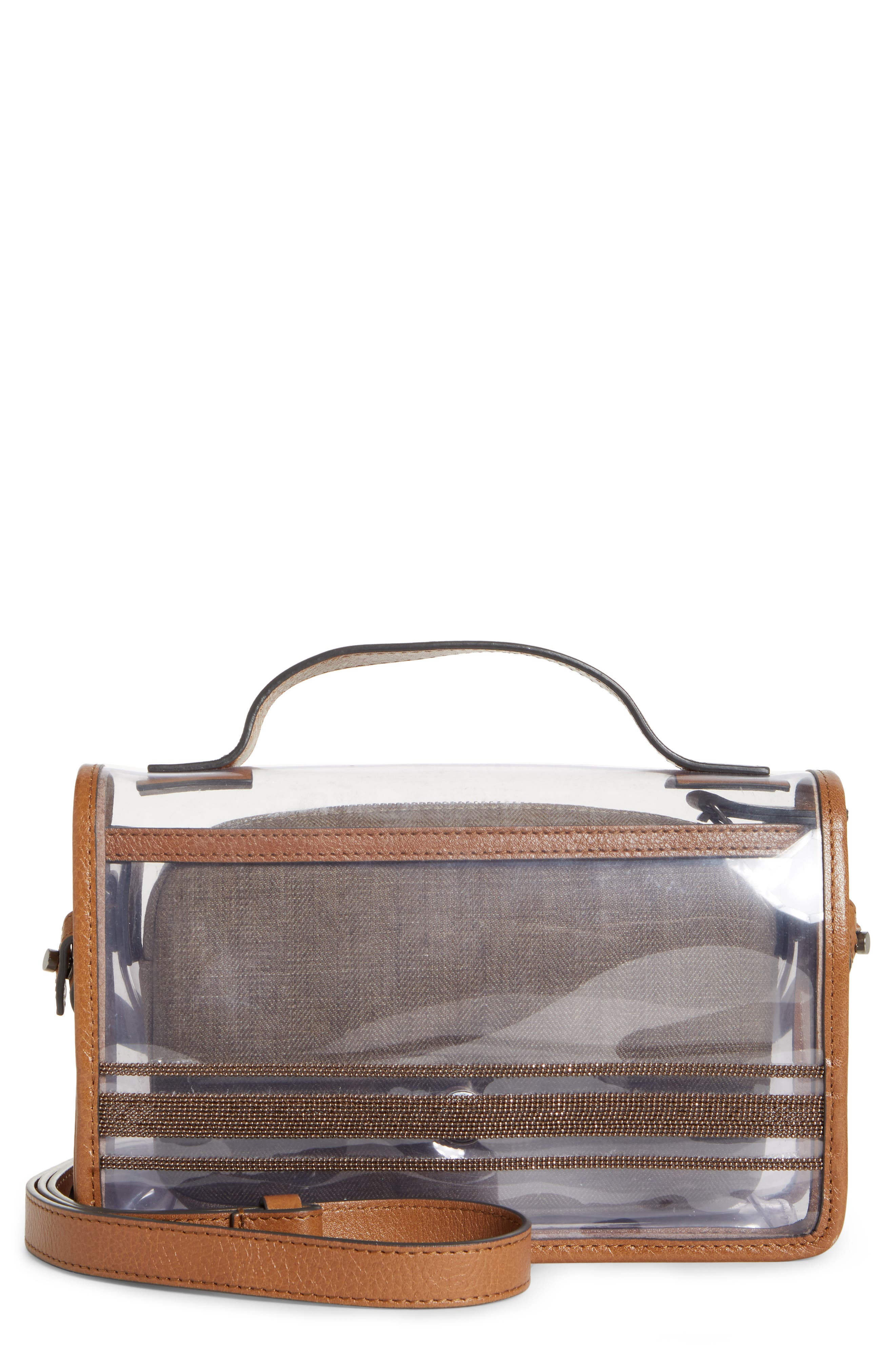 BRUNELLO CUCINELLI Monili & Leather Trim Clear Shoulder Bag, Main, color, LT BROWN