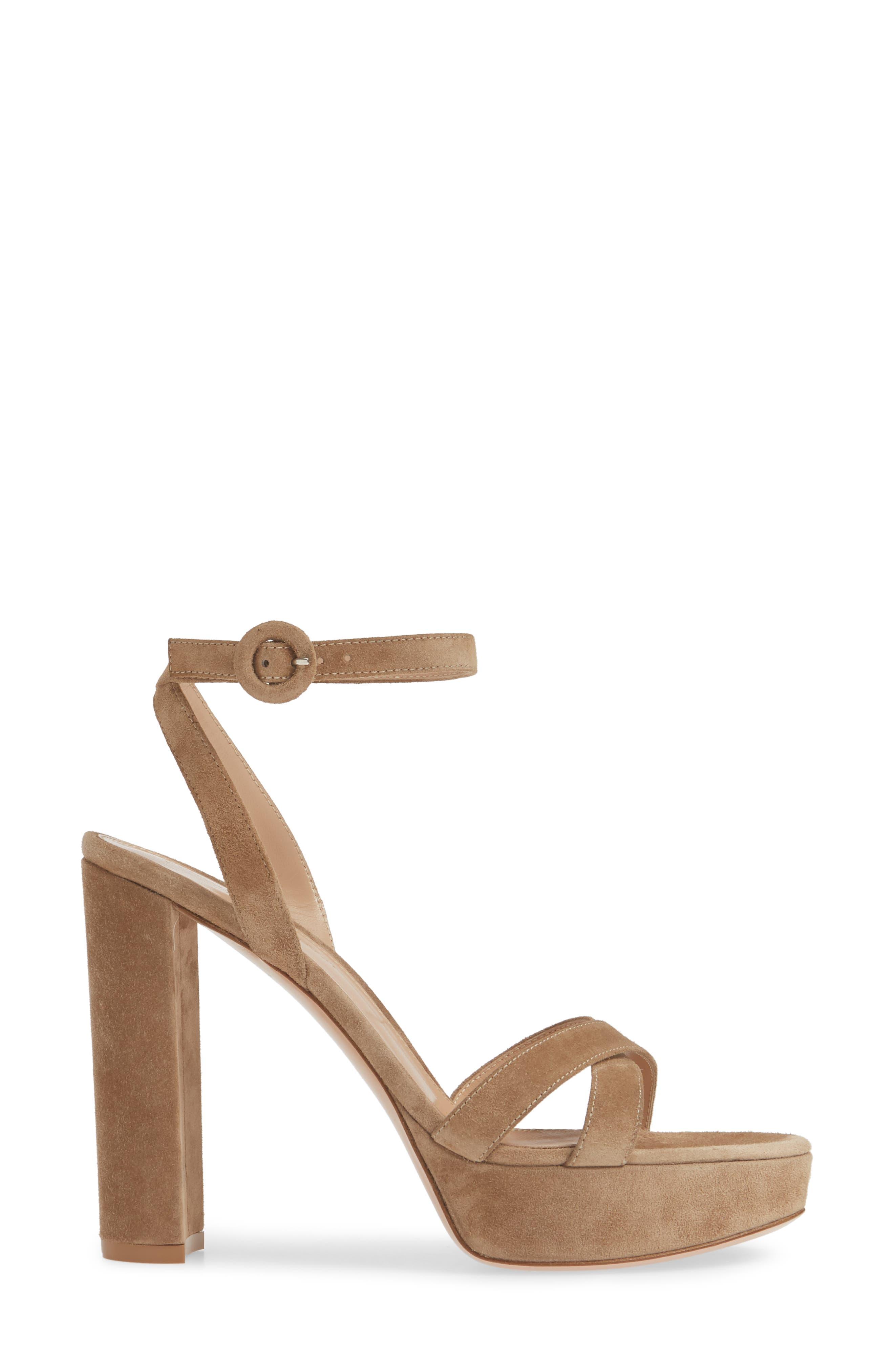 GIANVITO ROSSI, Ankle Strap Platform Sandal, Alternate thumbnail 3, color, CAMEL SUEDE