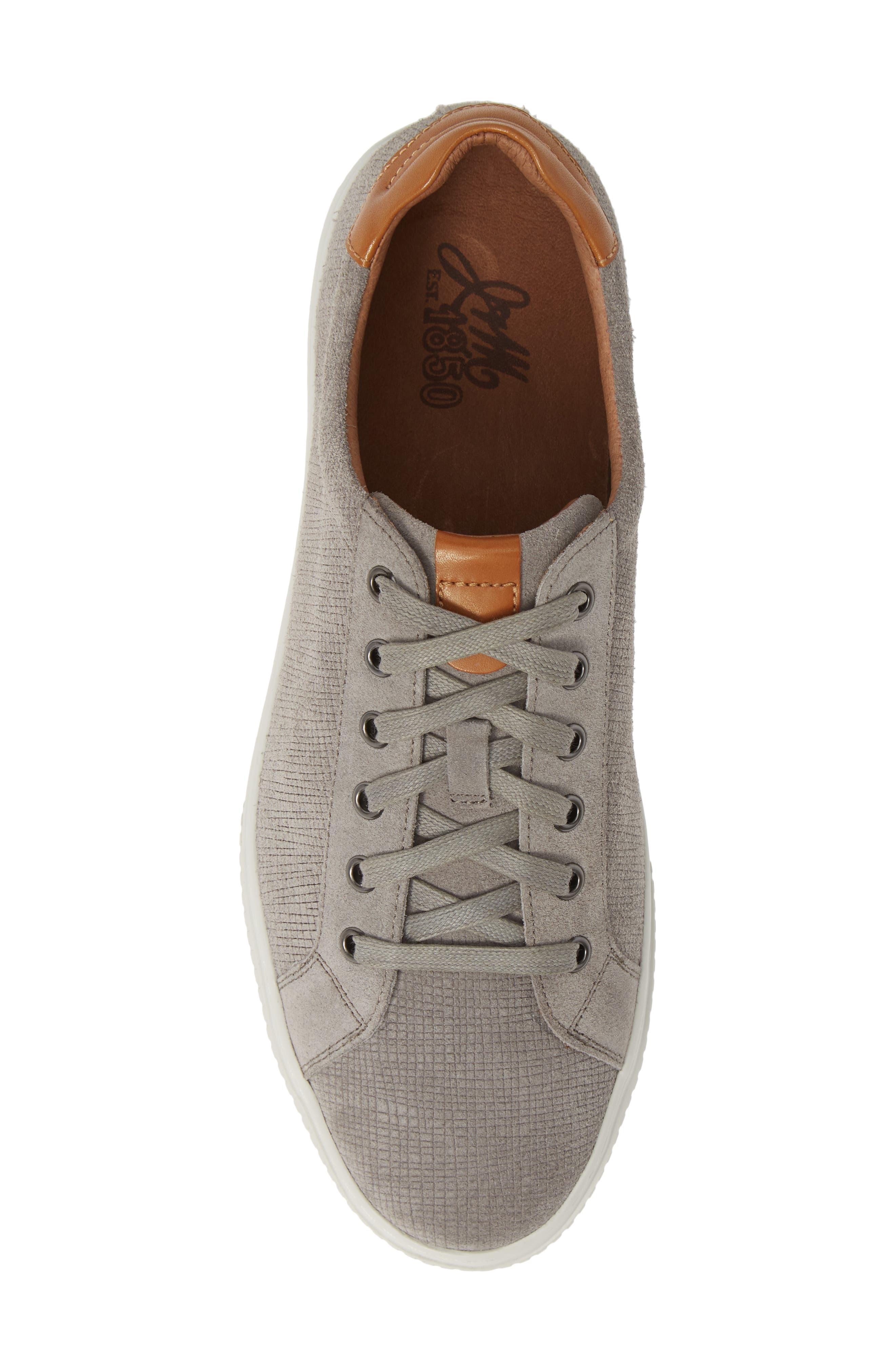 J&M 1850, Toliver Low Top Sneaker, Alternate thumbnail 5, color, GREY SUEDE