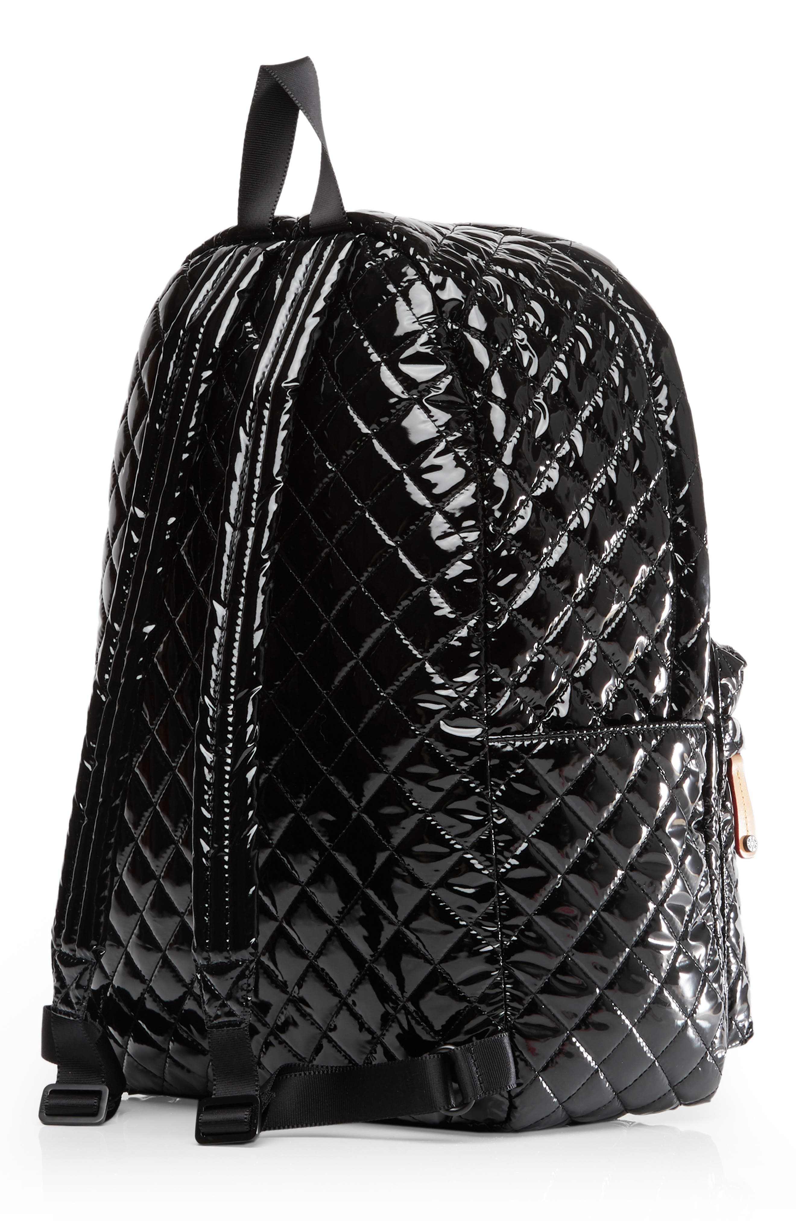 MZ WALLACE, Metro Backpack, Alternate thumbnail 4, color, BLACK LACQUER QUILTED