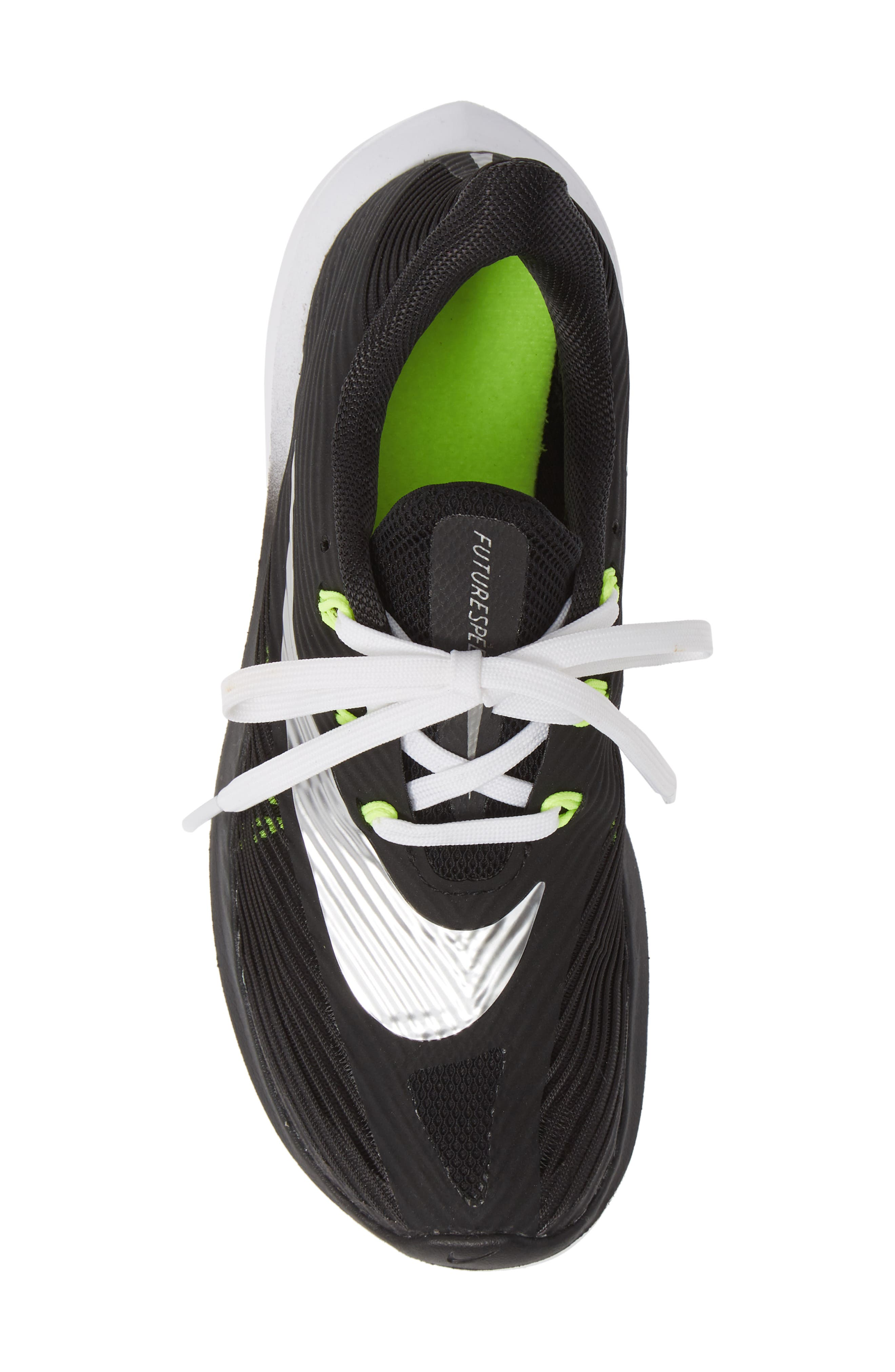NIKE, Future Speed Running Shoe, Alternate thumbnail 5, color, BLACK/ CHROME-WHITE-VOLT