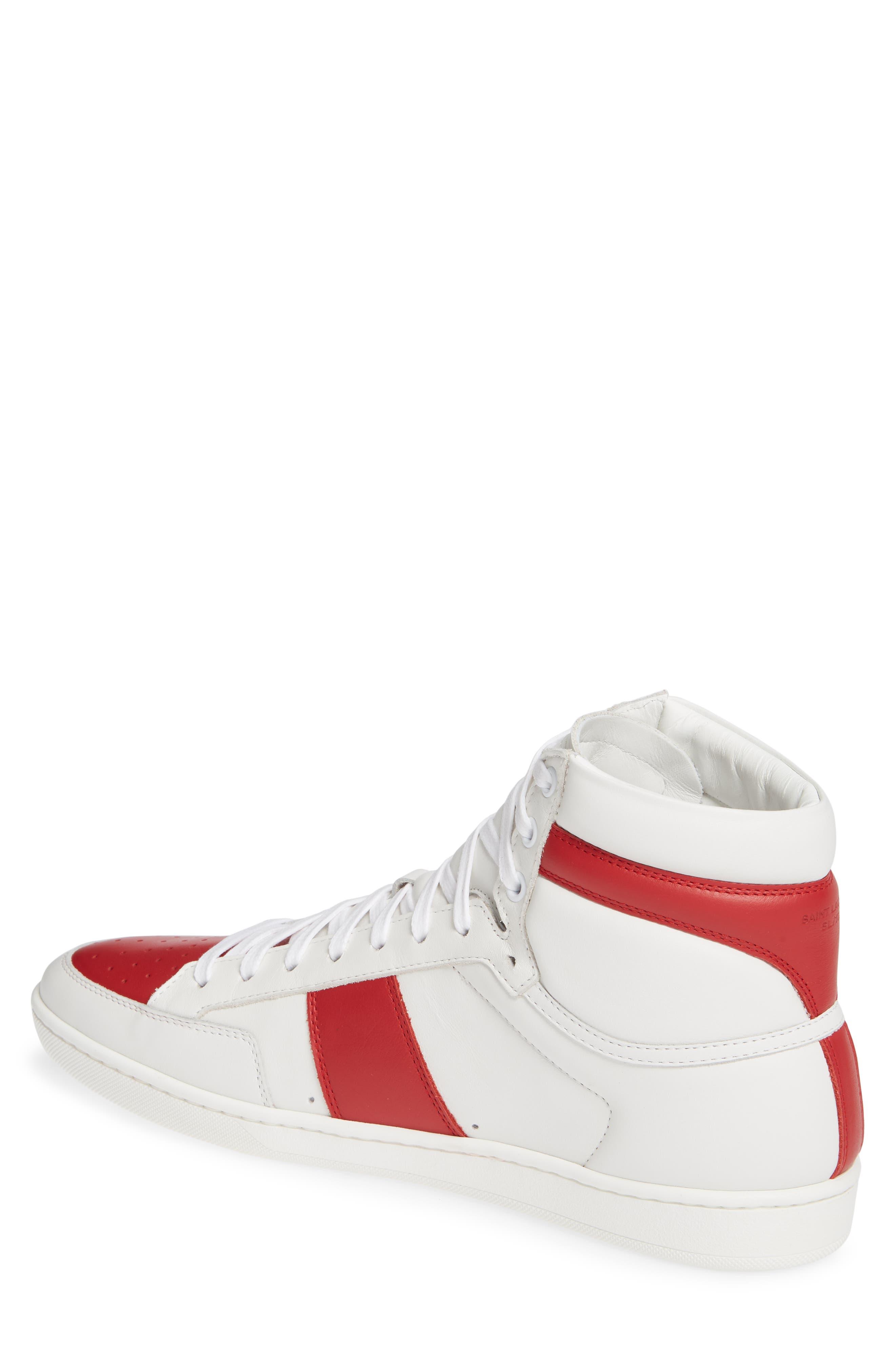SAINT LAURENT, SL/10H Signature Court Classic High-Top Sneaker, Alternate thumbnail 2, color, WHITE/ MULTI