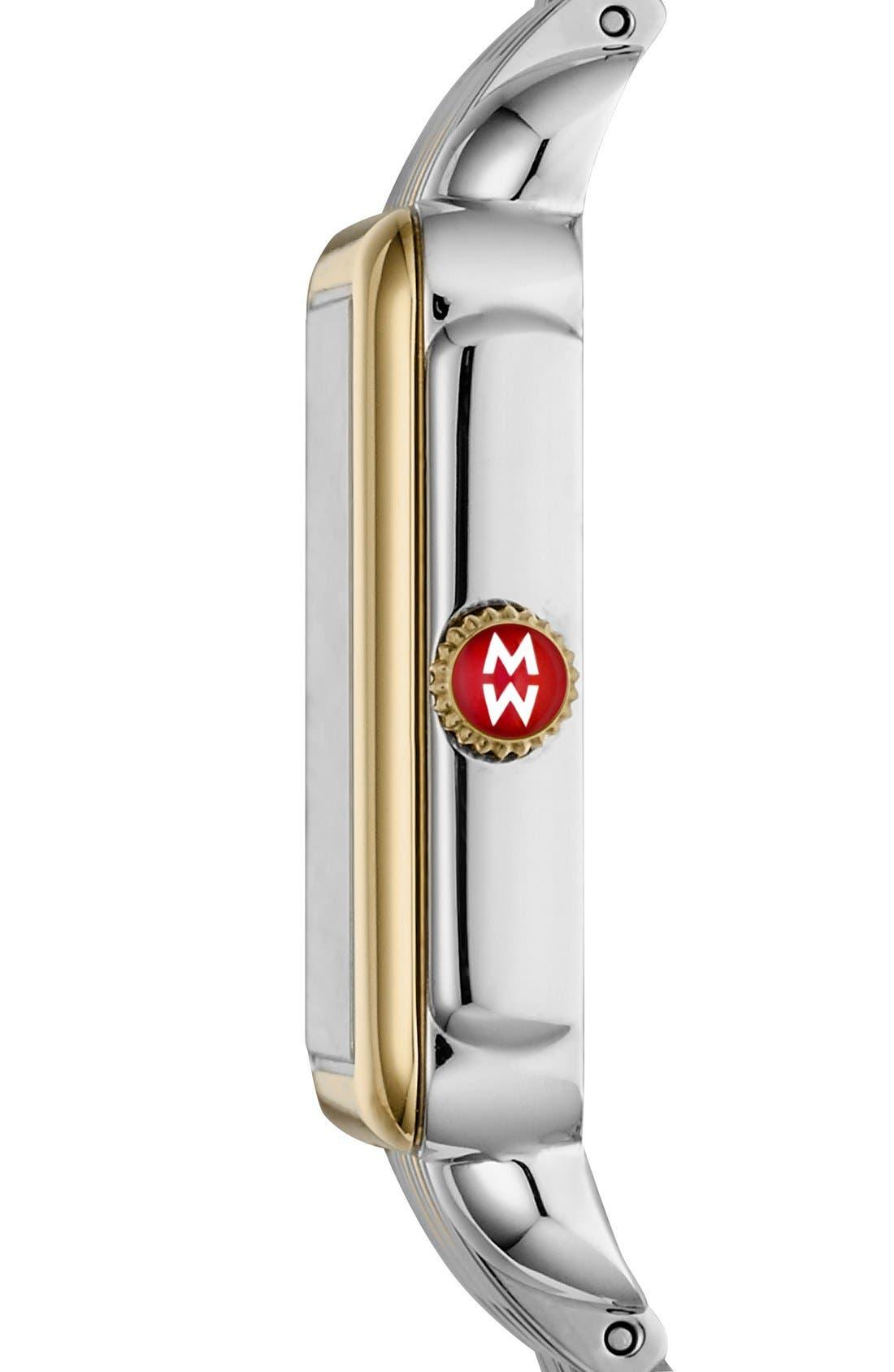 MICHELE, Deco II Mid 16mm Bracelet Watchband, Alternate thumbnail 6, color, SILVER/ GOLD