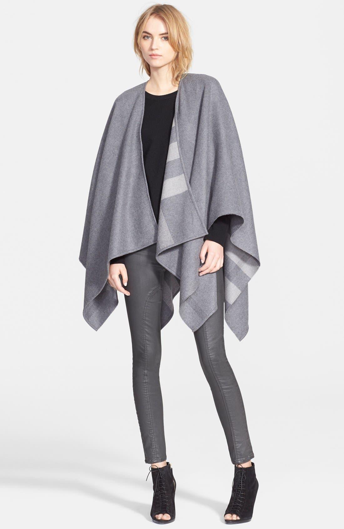 BURBERRY Reversible Merino Wool Cape, Main, color, 020