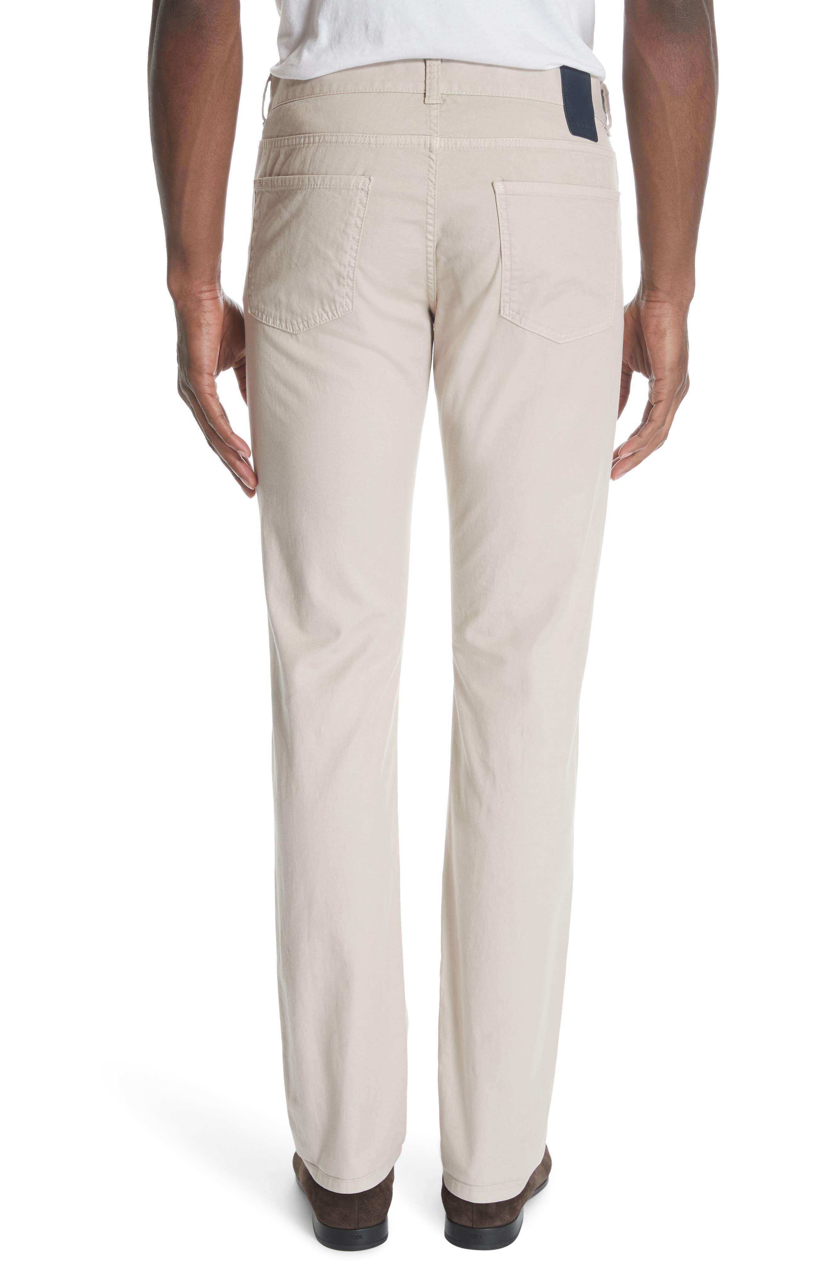 CANALI, Stretch Cotton Five Pocket Trousers, Alternate thumbnail 2, color, BEIGE