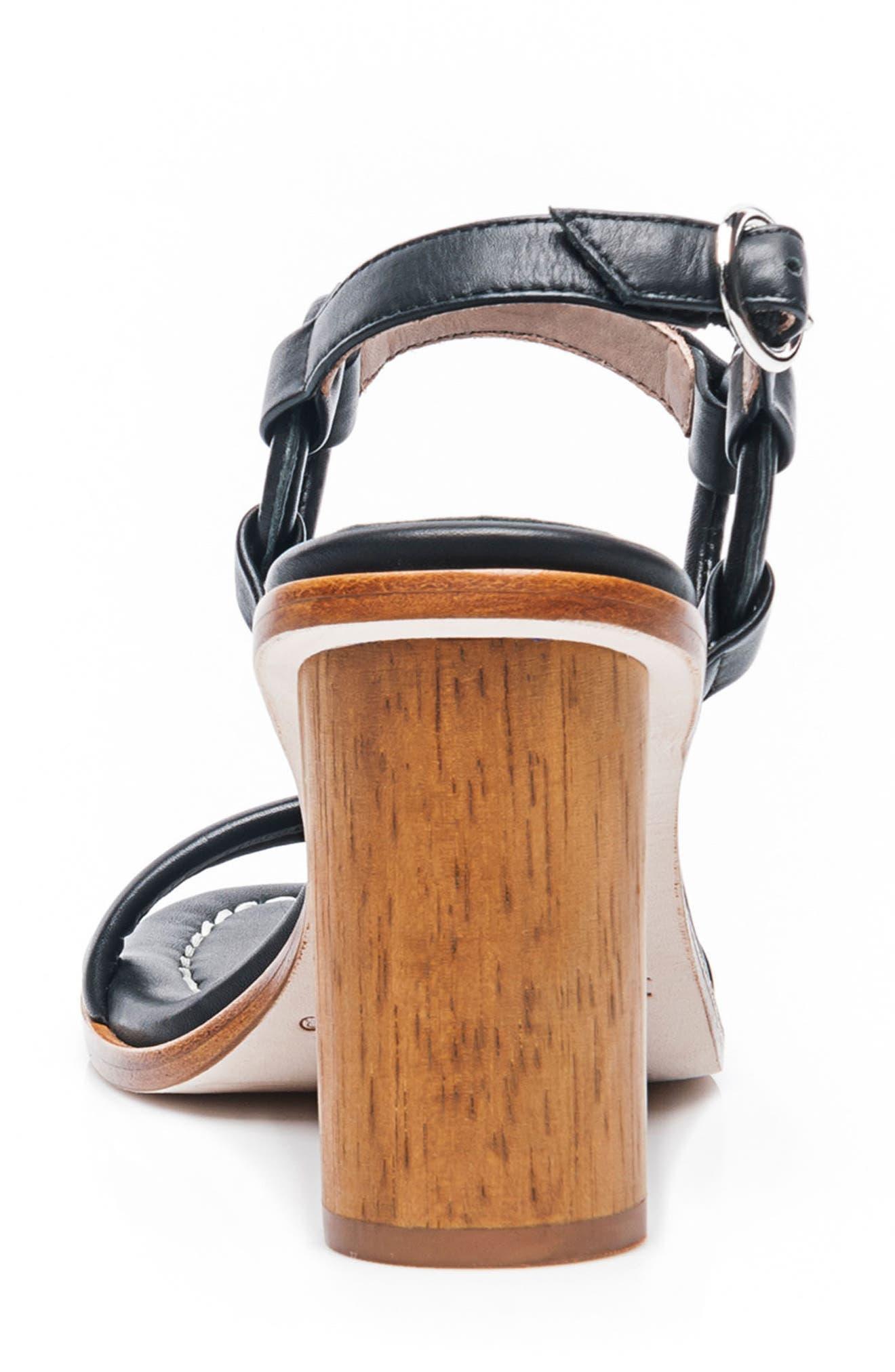 BERNARDO, Harlow Ankle Strap Sandal, Alternate thumbnail 7, color, BLACK LEATHER