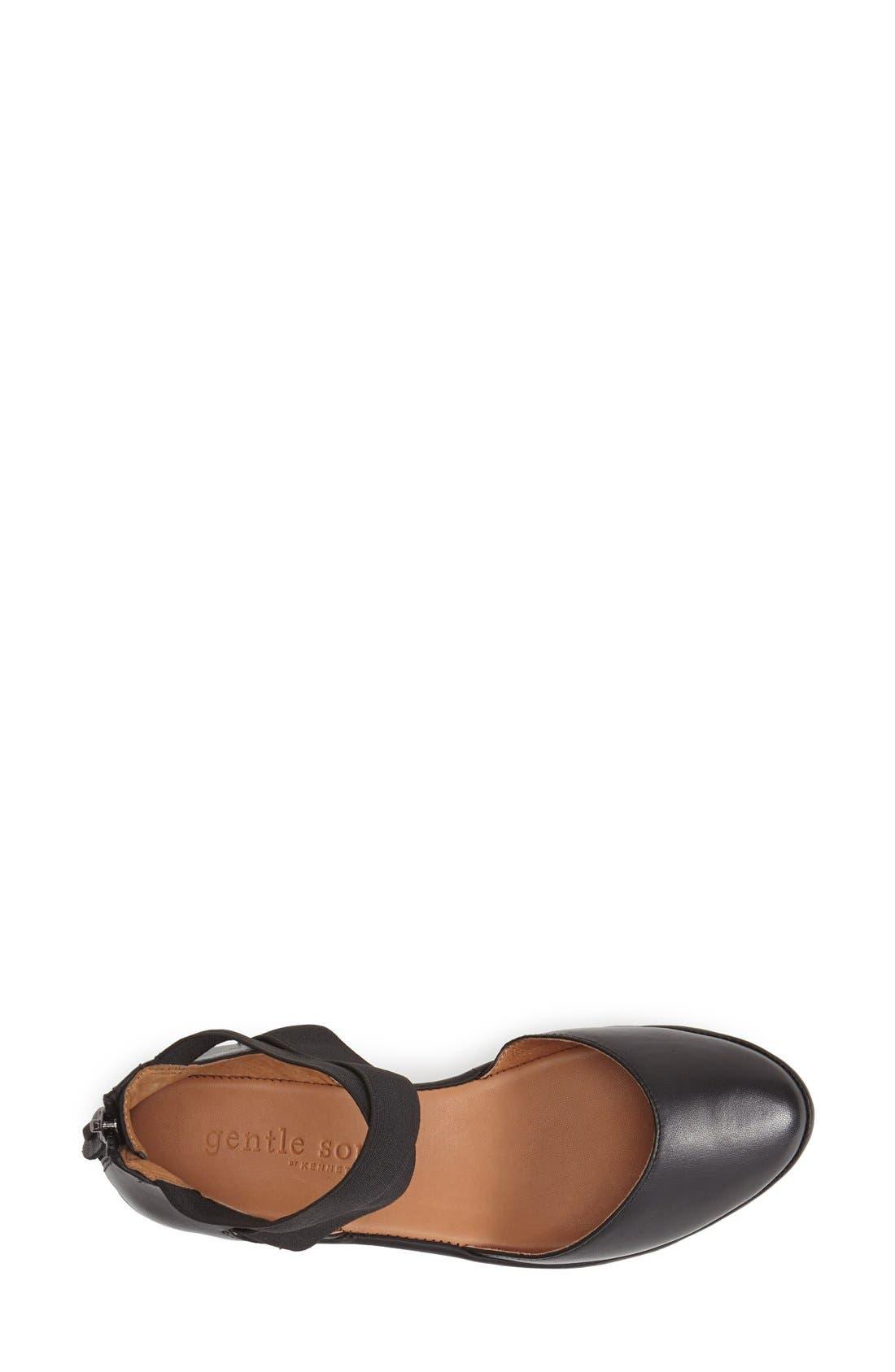 GENTLE SOULS BY KENNETH COLE, 'Noa' Elastic Strap d'Orsay Sandal, Alternate thumbnail 3, color, BLACK