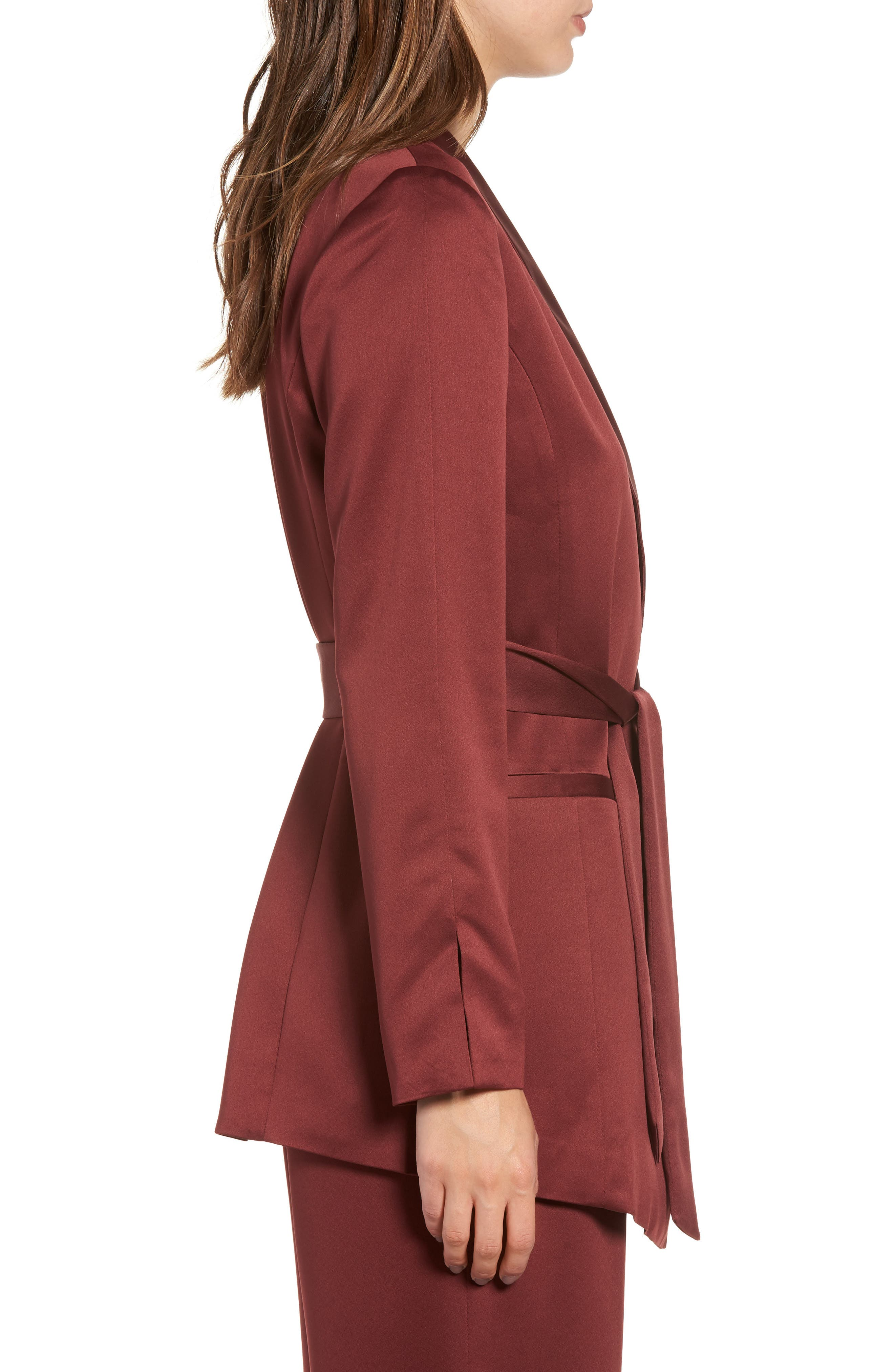 LEITH, Belted Satin Jacket, Alternate thumbnail 3, color, 601
