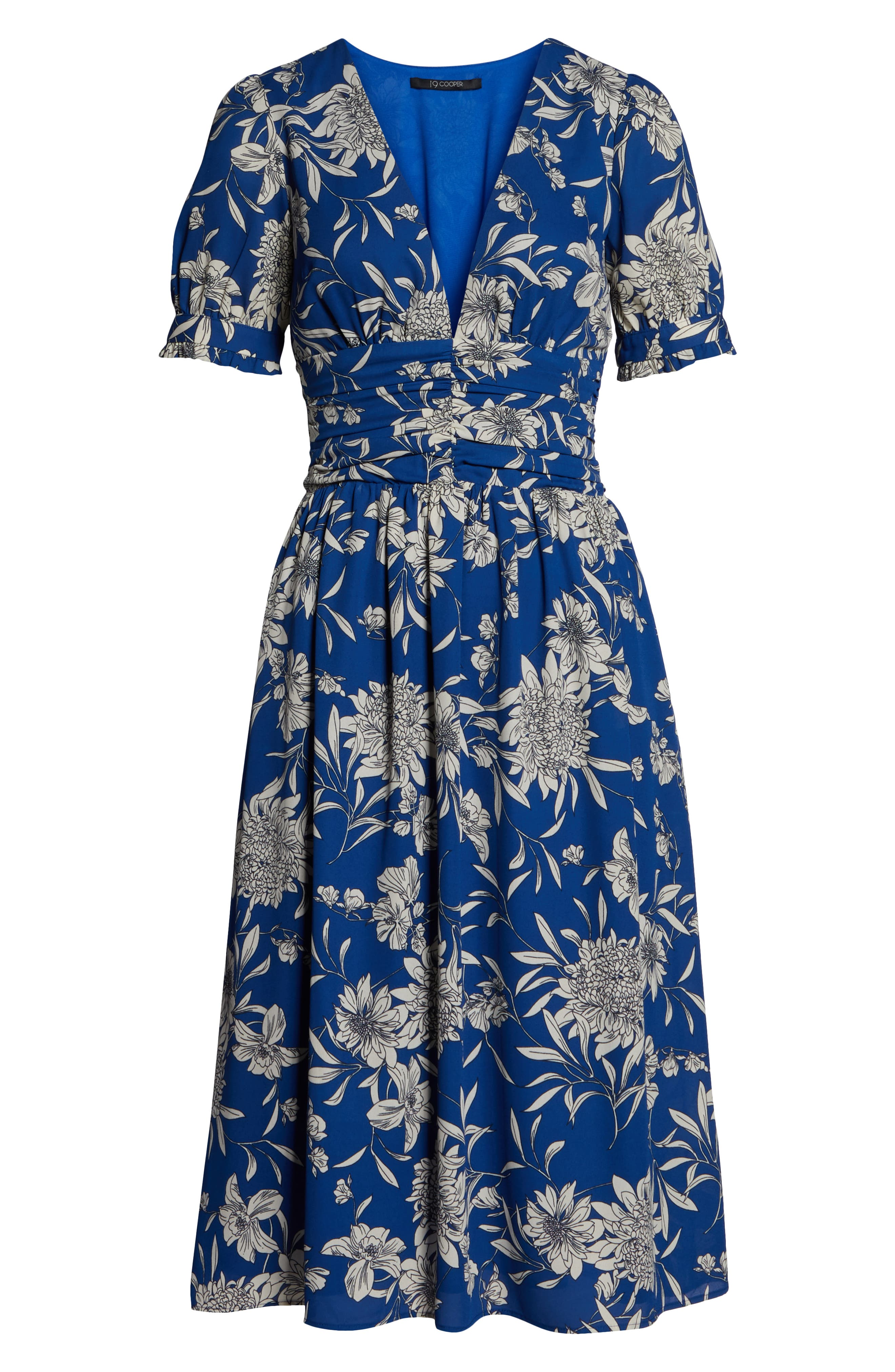 19 COOPER, Shirred Waist Midi Dress, Alternate thumbnail 7, color, BLUE/ WHITE