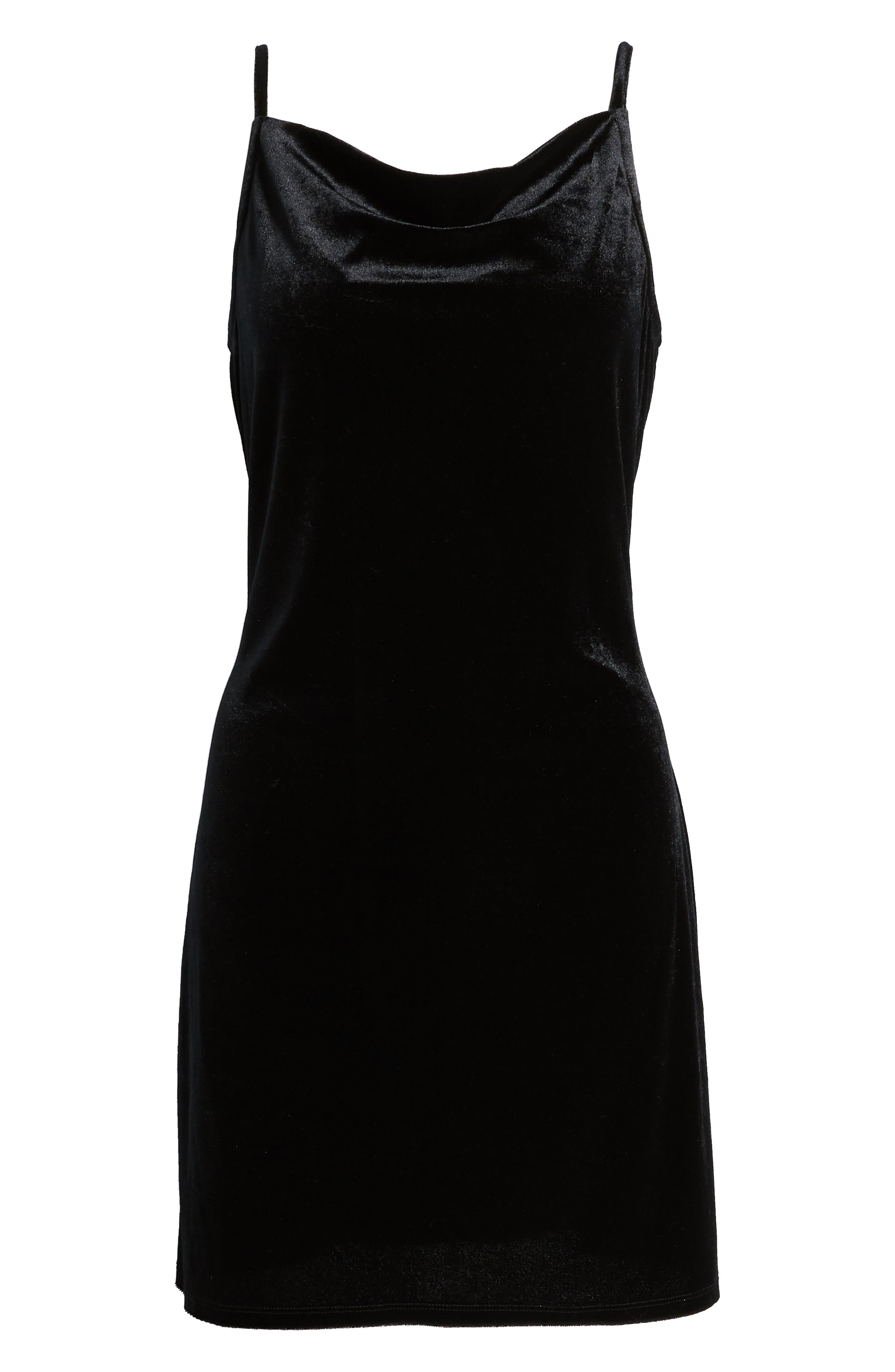 LOVE, FIRE, Cowl Neck Slipdress, Alternate thumbnail 7, color, BLACK