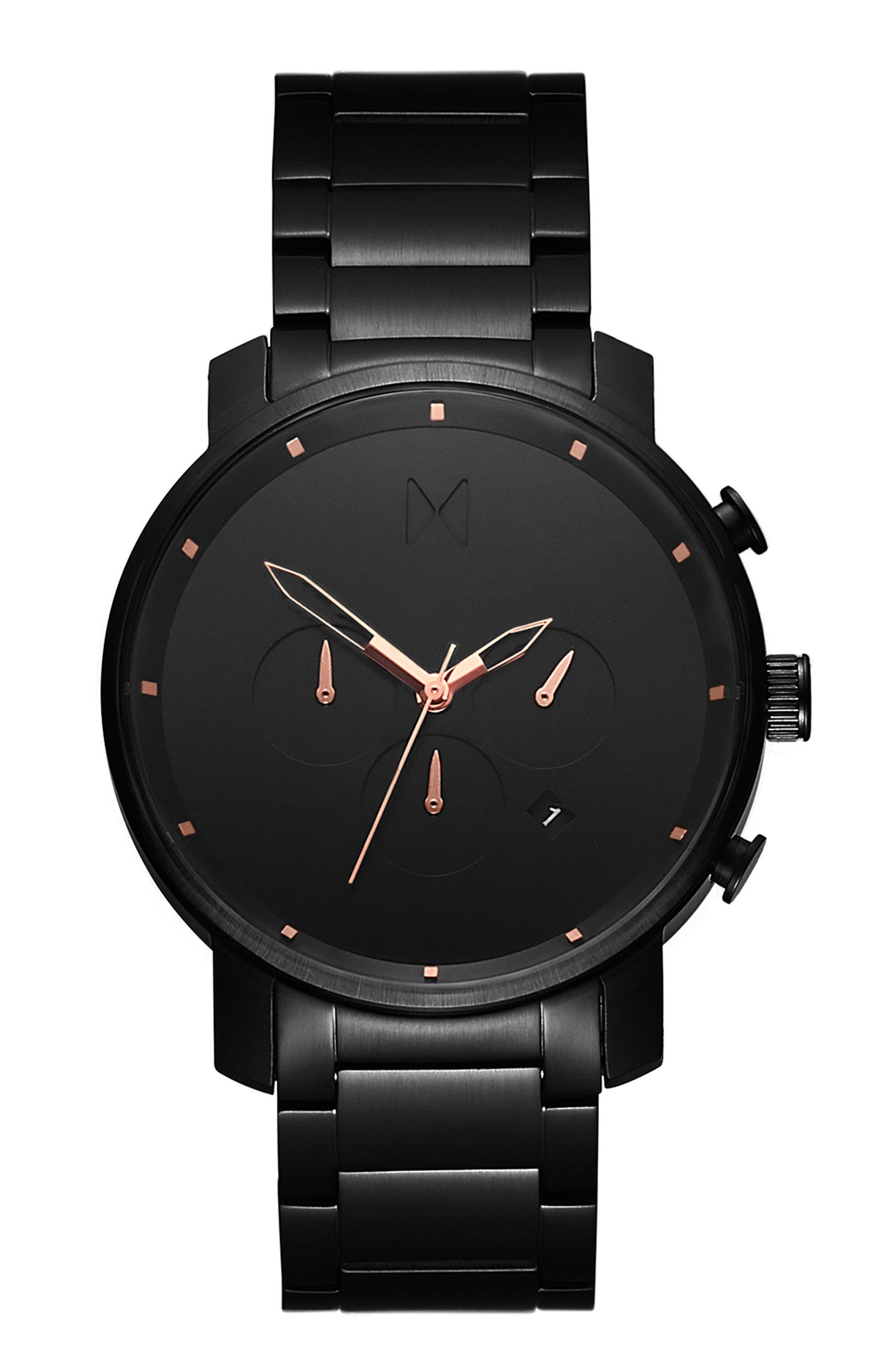 MVMT, The Chrono Chronograph Bracelet Watch, 45mm, Main thumbnail 1, color, ALL BLACK/ ROSE GOLD
