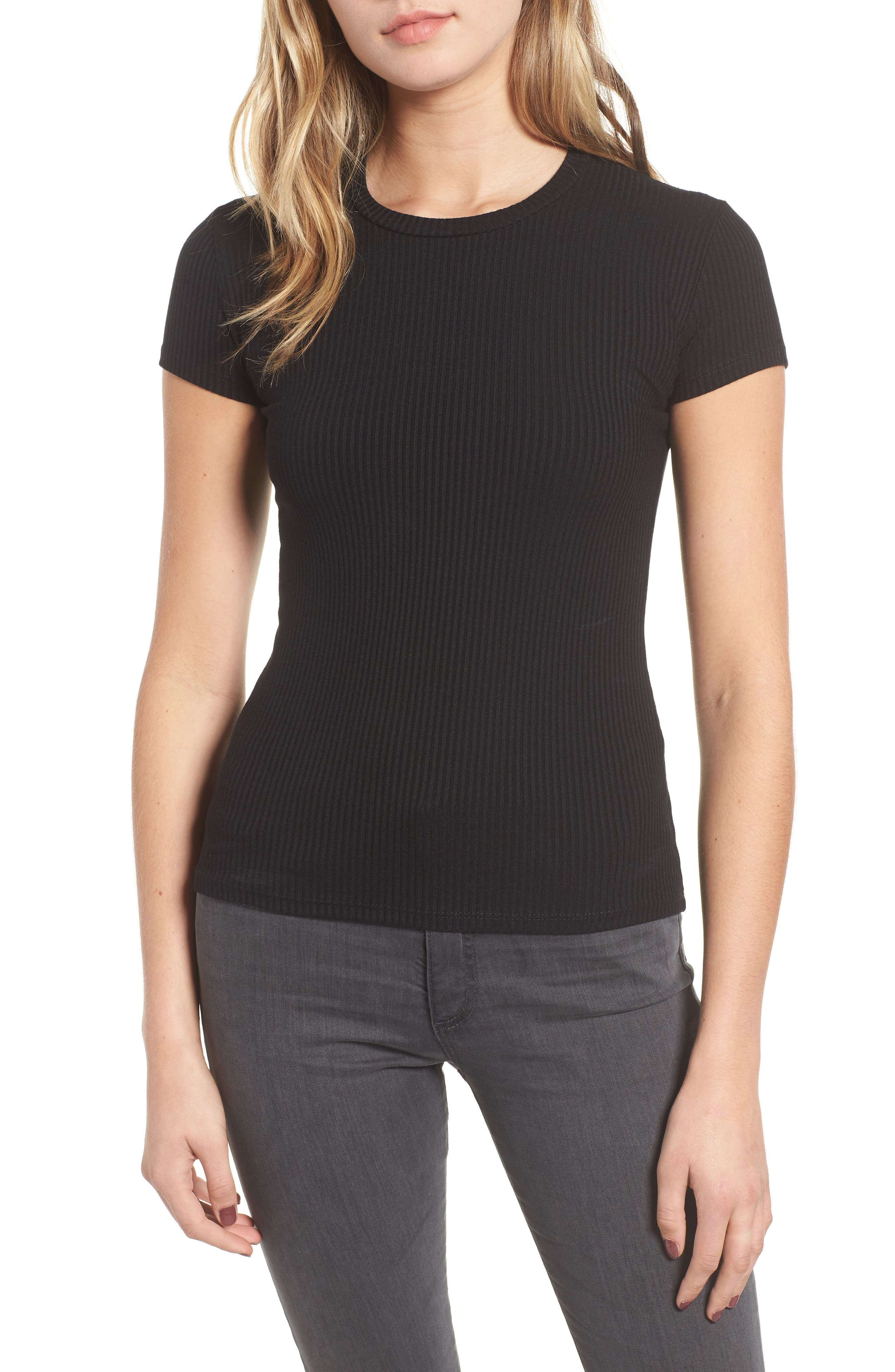 AMOUR VERT Diana Ribbed Tee, Main, color, BLACK