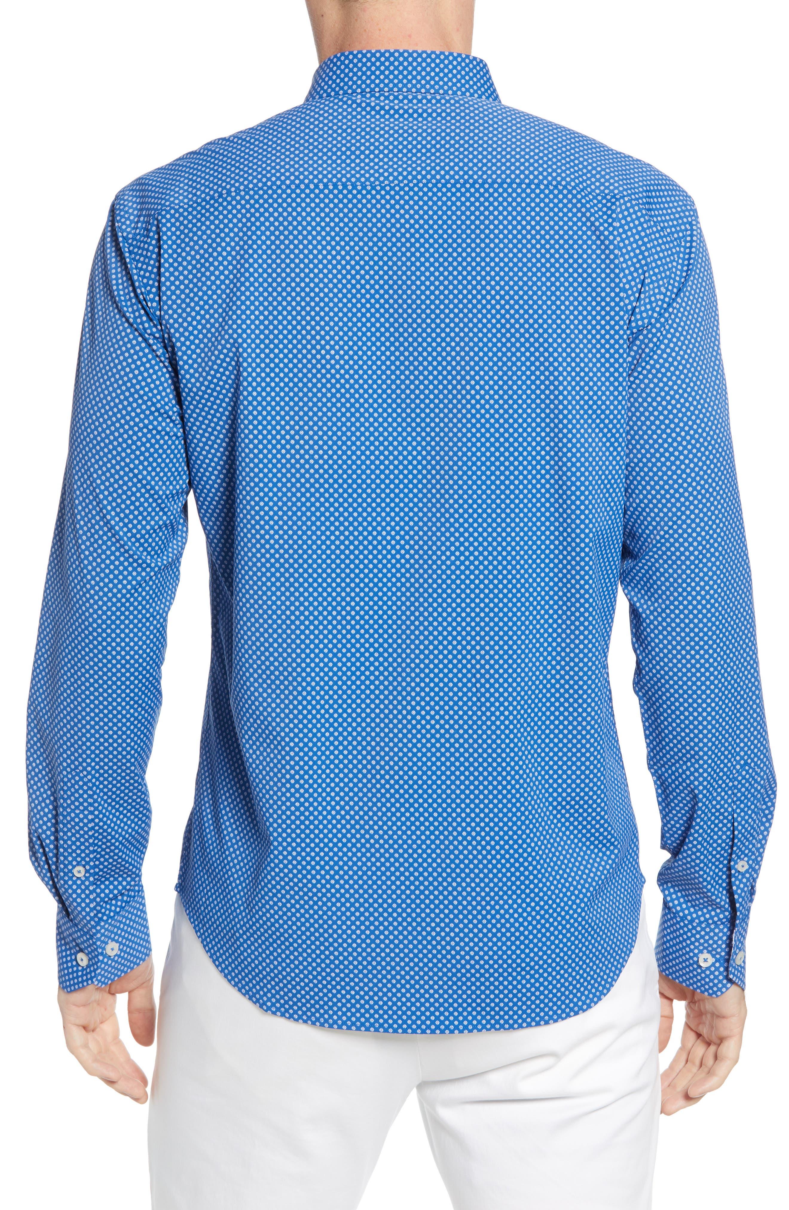 BUGATCHI, Shaped Fit Print Performance Sport Shirt, Alternate thumbnail 3, color, NAVY