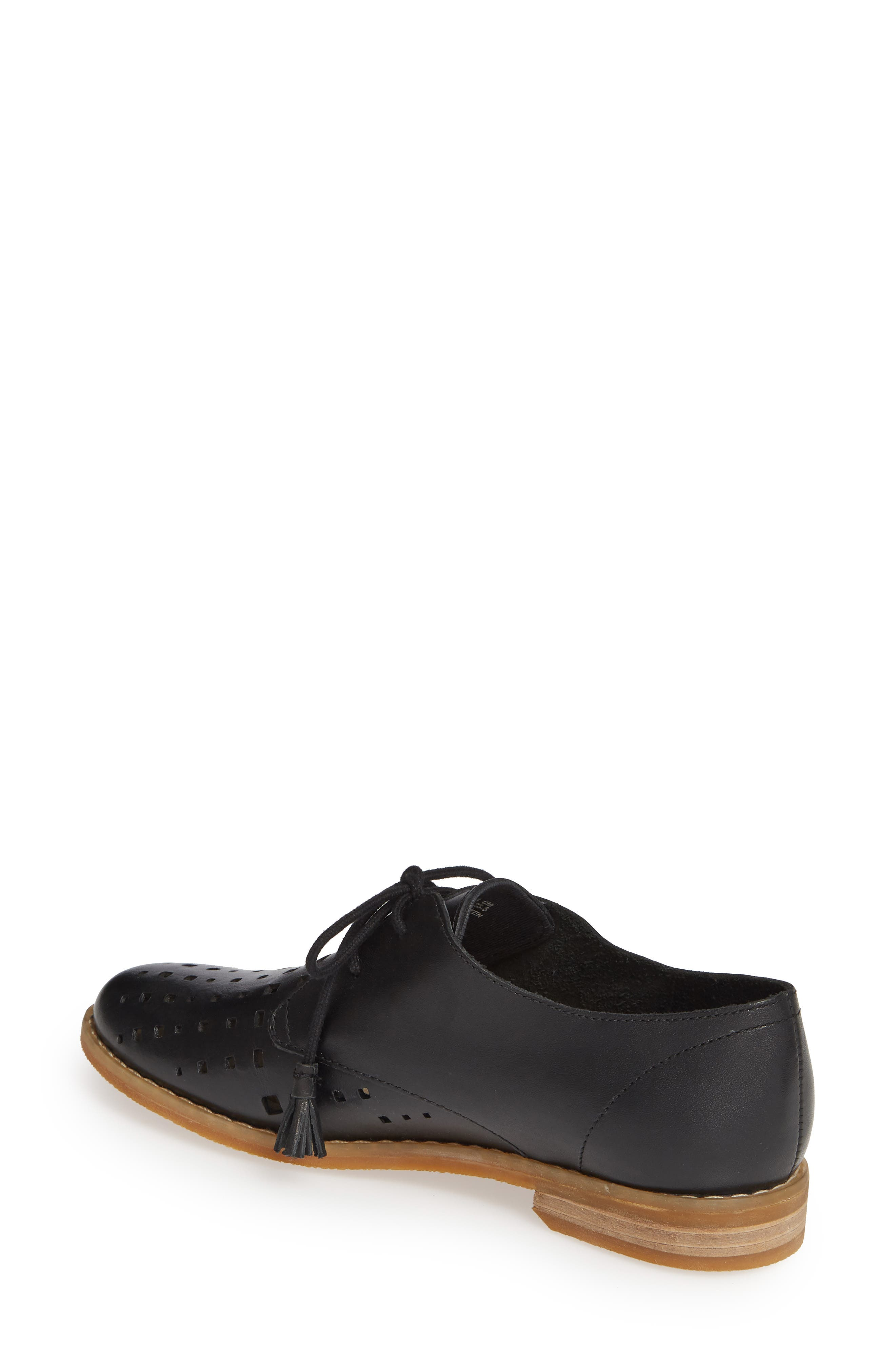 HUSH PUPPIES<SUP>®</SUP>, Chardon Perforated Derby, Alternate thumbnail 2, color, BLACK LEATHER