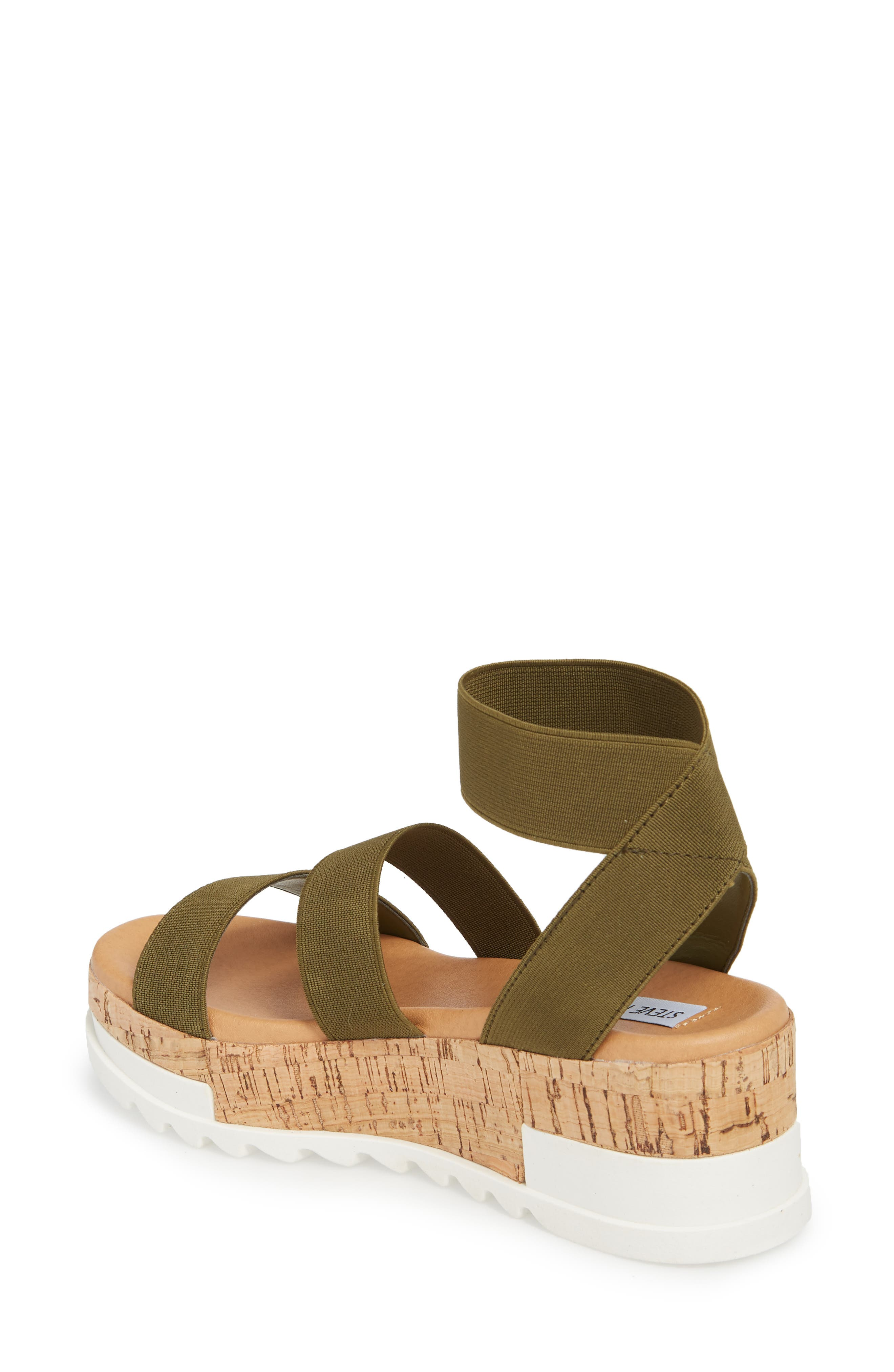 STEVE MADDEN, Bandi Platform Wedge Sandal, Alternate thumbnail 2, color, OLIVE