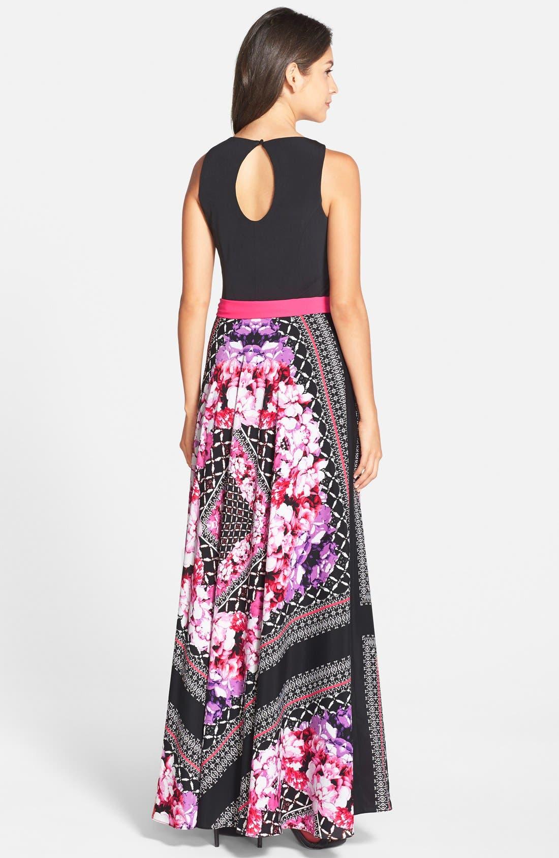 ELIZA J, Scarf Print Jersey & Crêpe de Chine Maxi Dress, Alternate thumbnail 7, color, 001