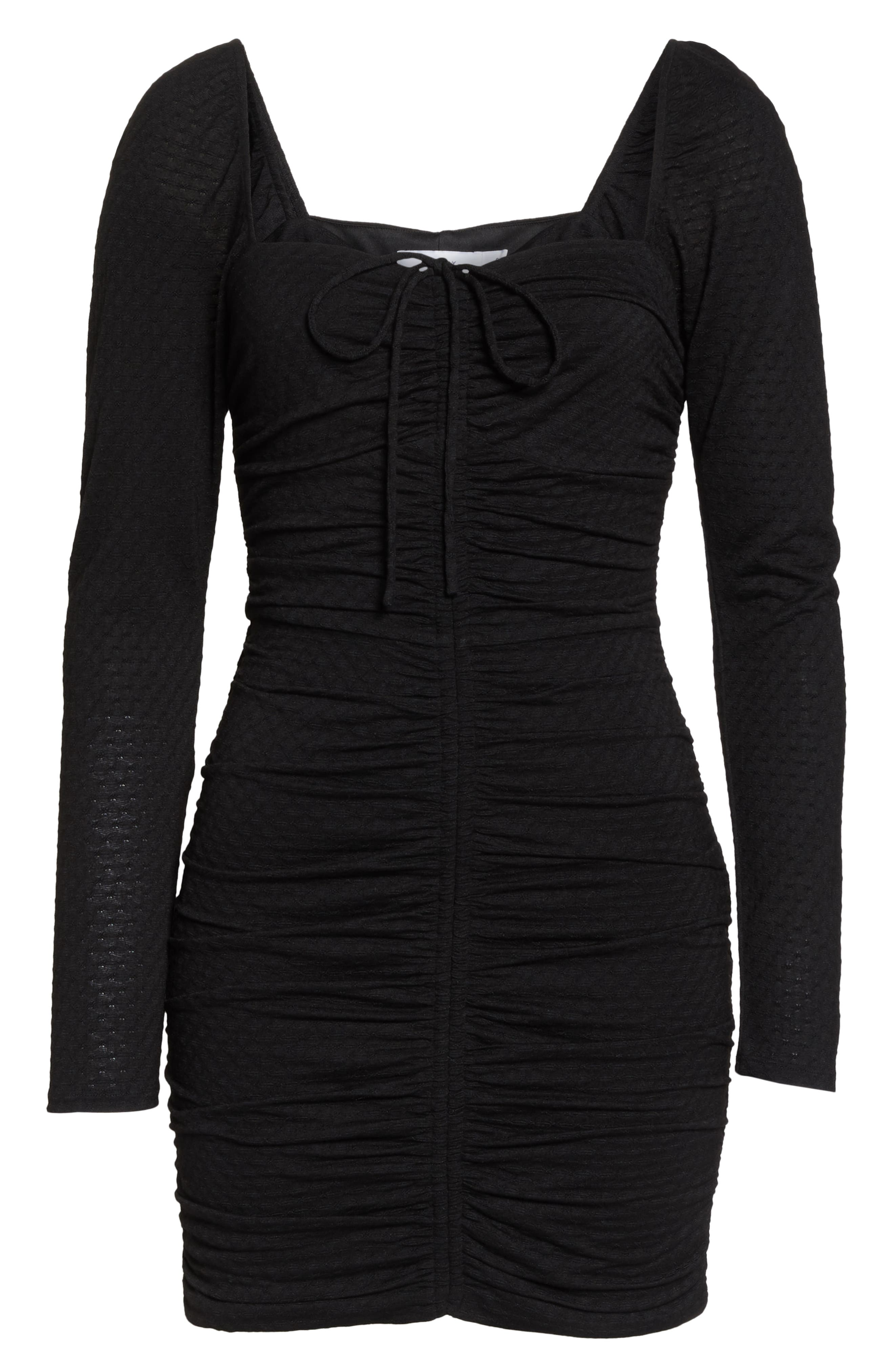ALI & JAY, Ruched Body-Con Dress, Alternate thumbnail 7, color, BLACK