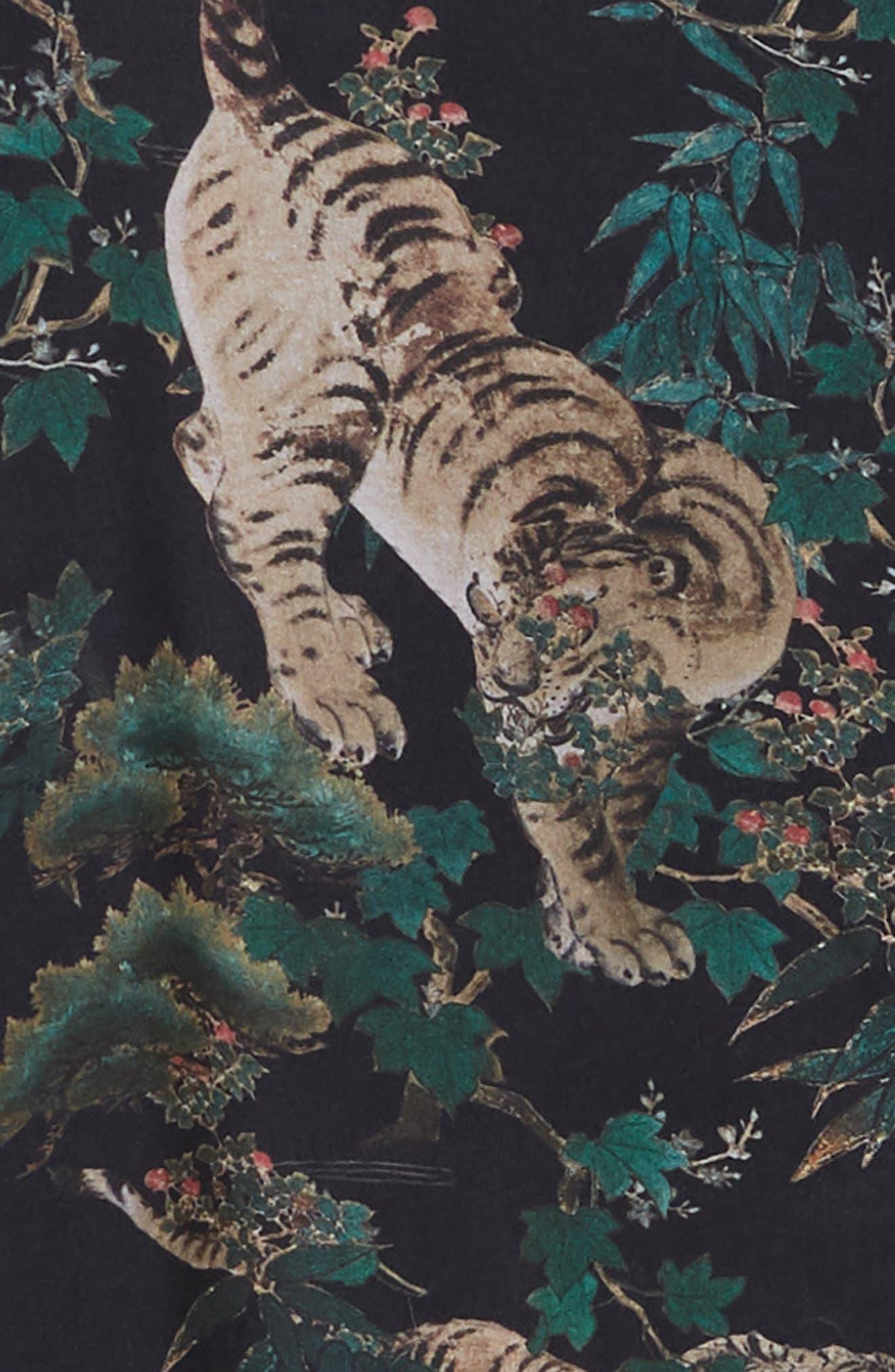 ALLSAINTS, Thicket Tiger Print Sport Shirt, Alternate thumbnail 5, color, 003