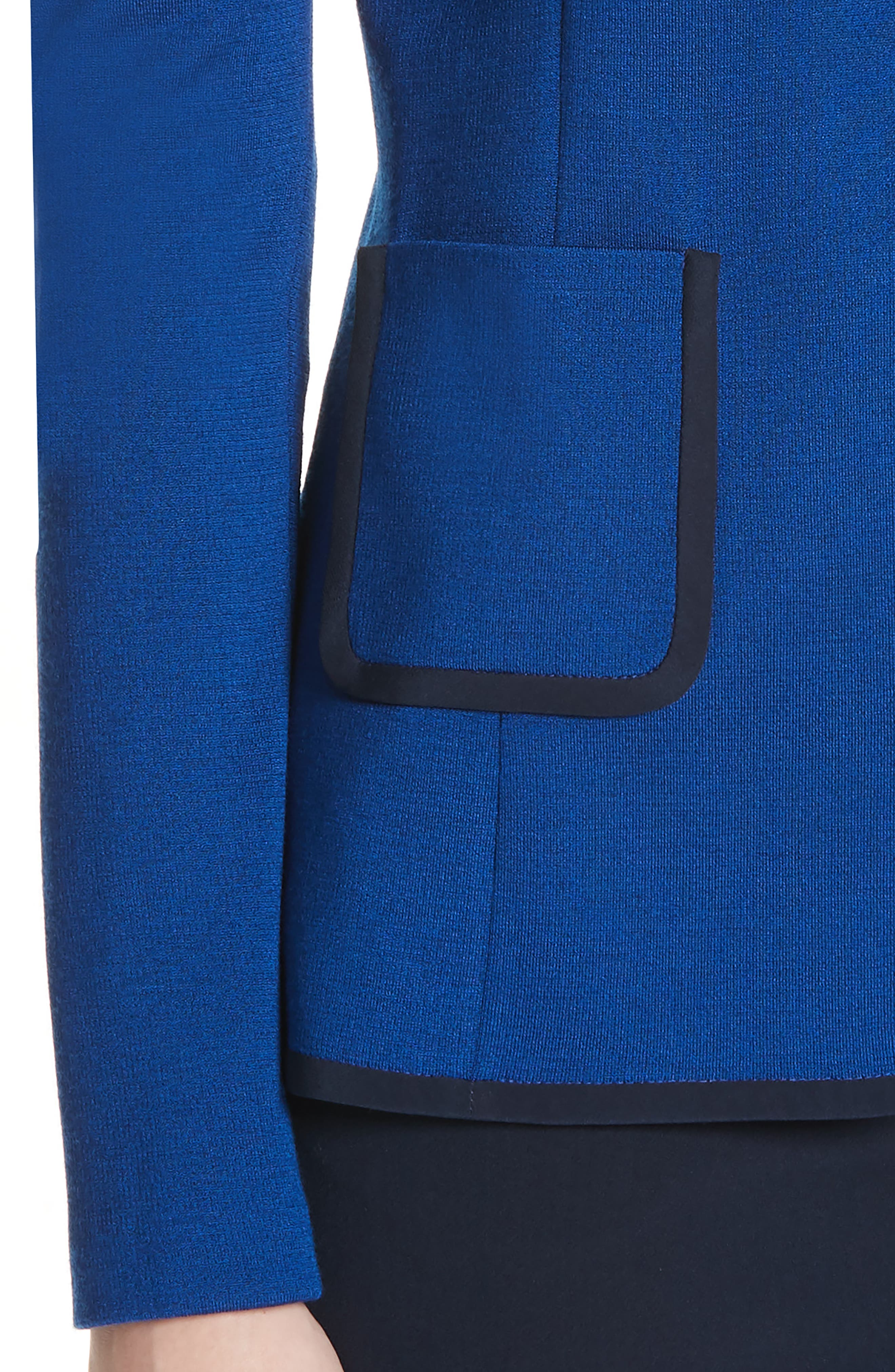 ST. JOHN COLLECTION, Patch Pocket Milano Knit Jacket, Alternate thumbnail 5, color, AZUL/ NAVY
