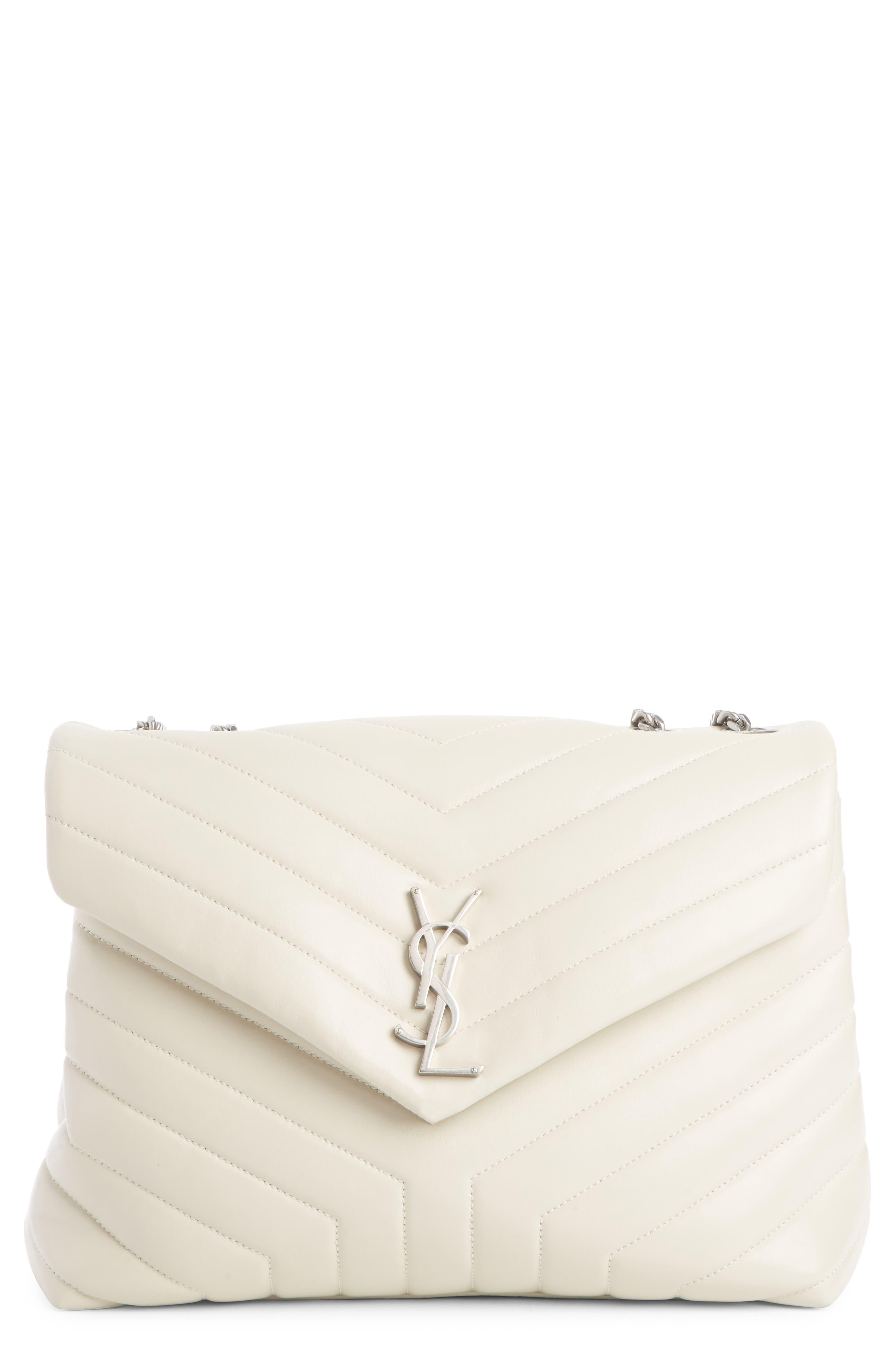 SAINT LAURENT, Medium Loulou Calfskin Leather Shoulder Bag, Main thumbnail 1, color, CREMA SOFT/ CREMA SOFT