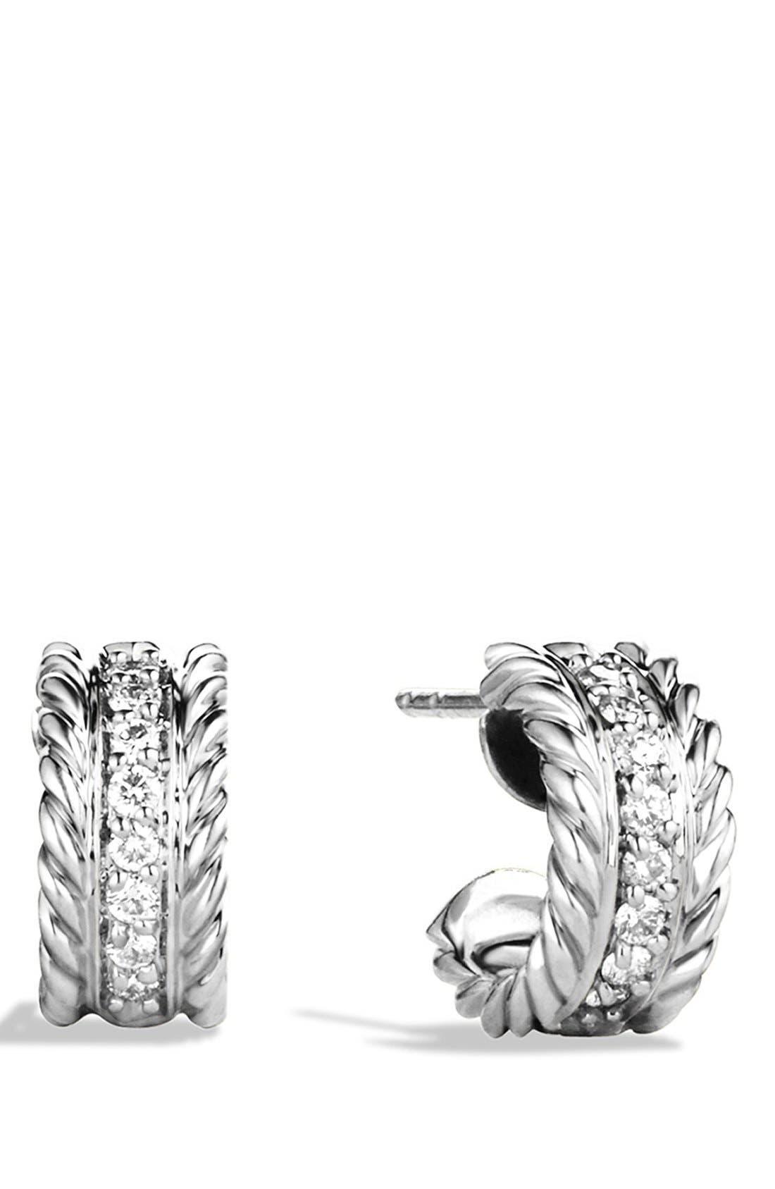 DAVID YURMAN, 'Cable Classics' Extra-Small Earrings with Diamonds, Main thumbnail 1, color, DIAMOND