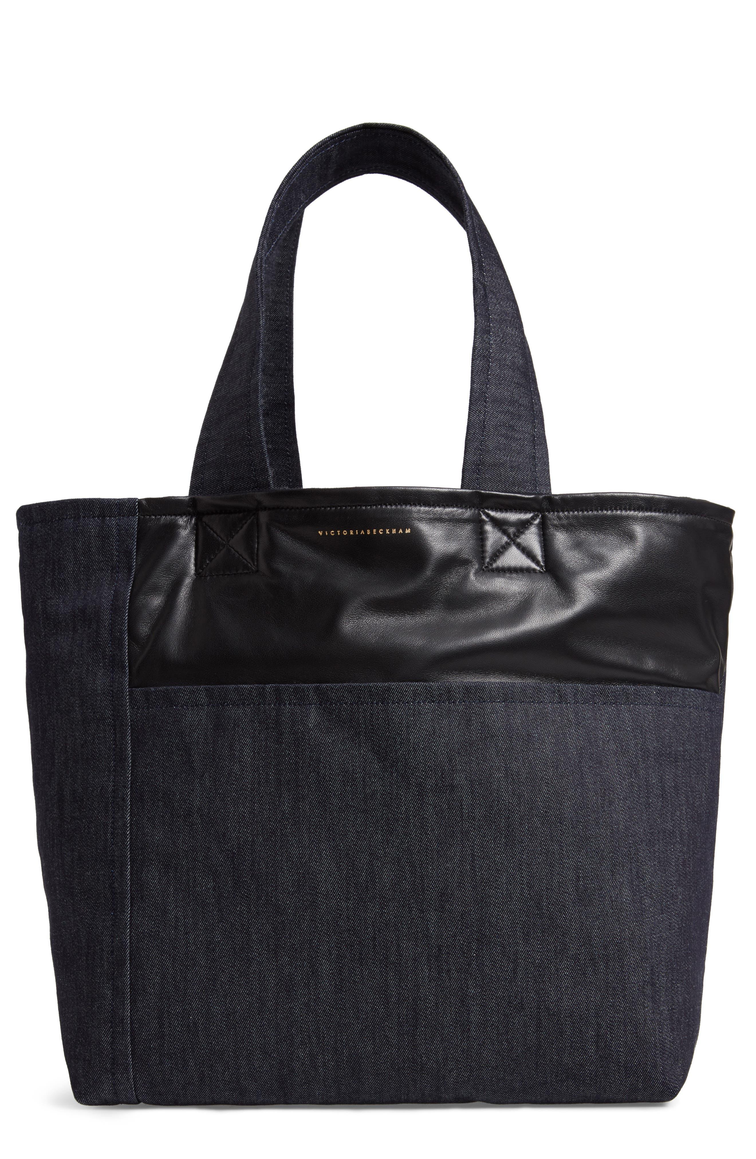 VICTORIA BECKHAM Sunday Denim & Leather Tote Bag, Main, color, 400