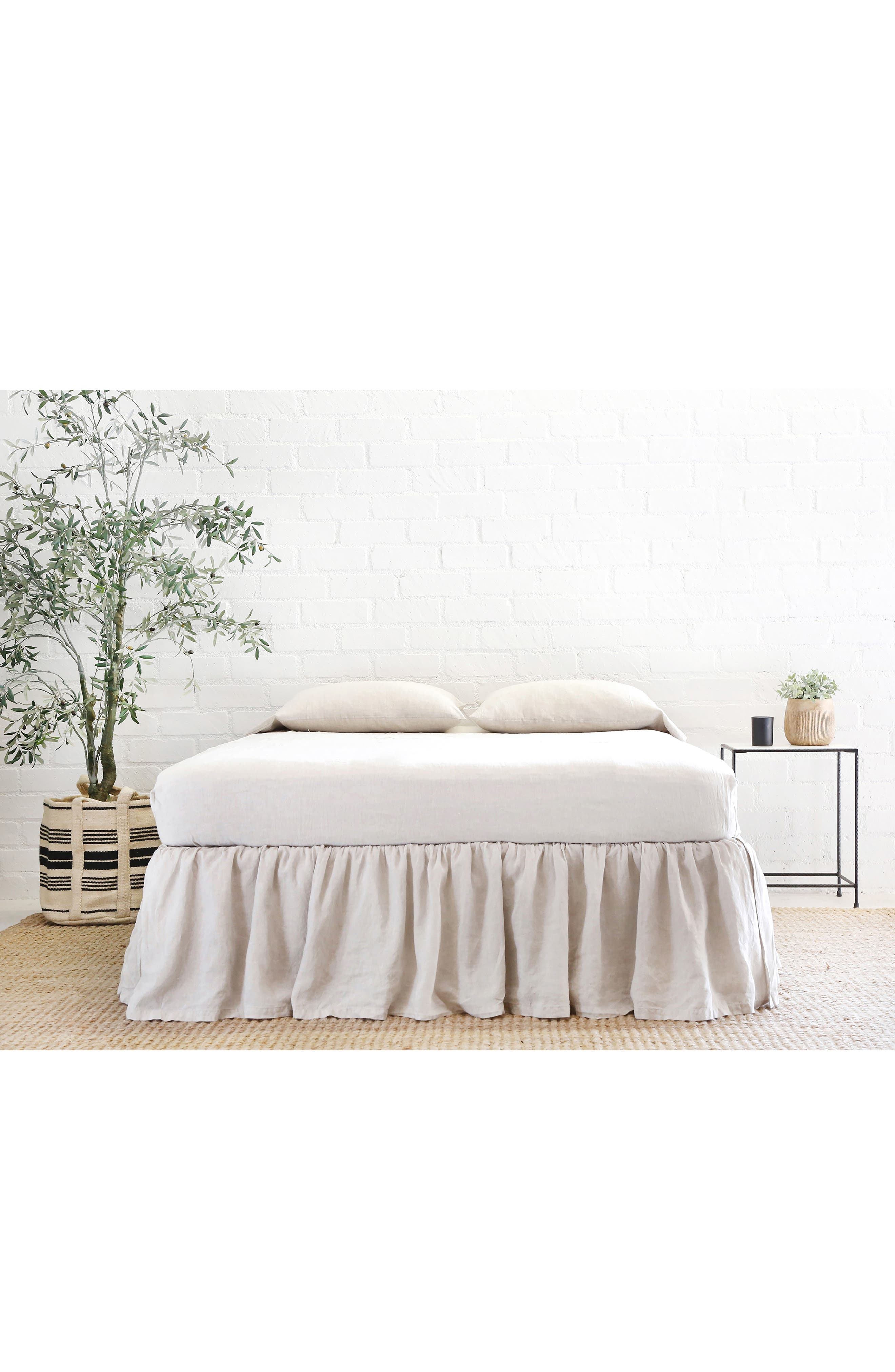 POM POM AT HOME, Gathered Linen Bed Skirt, Alternate thumbnail 2, color, FLAX