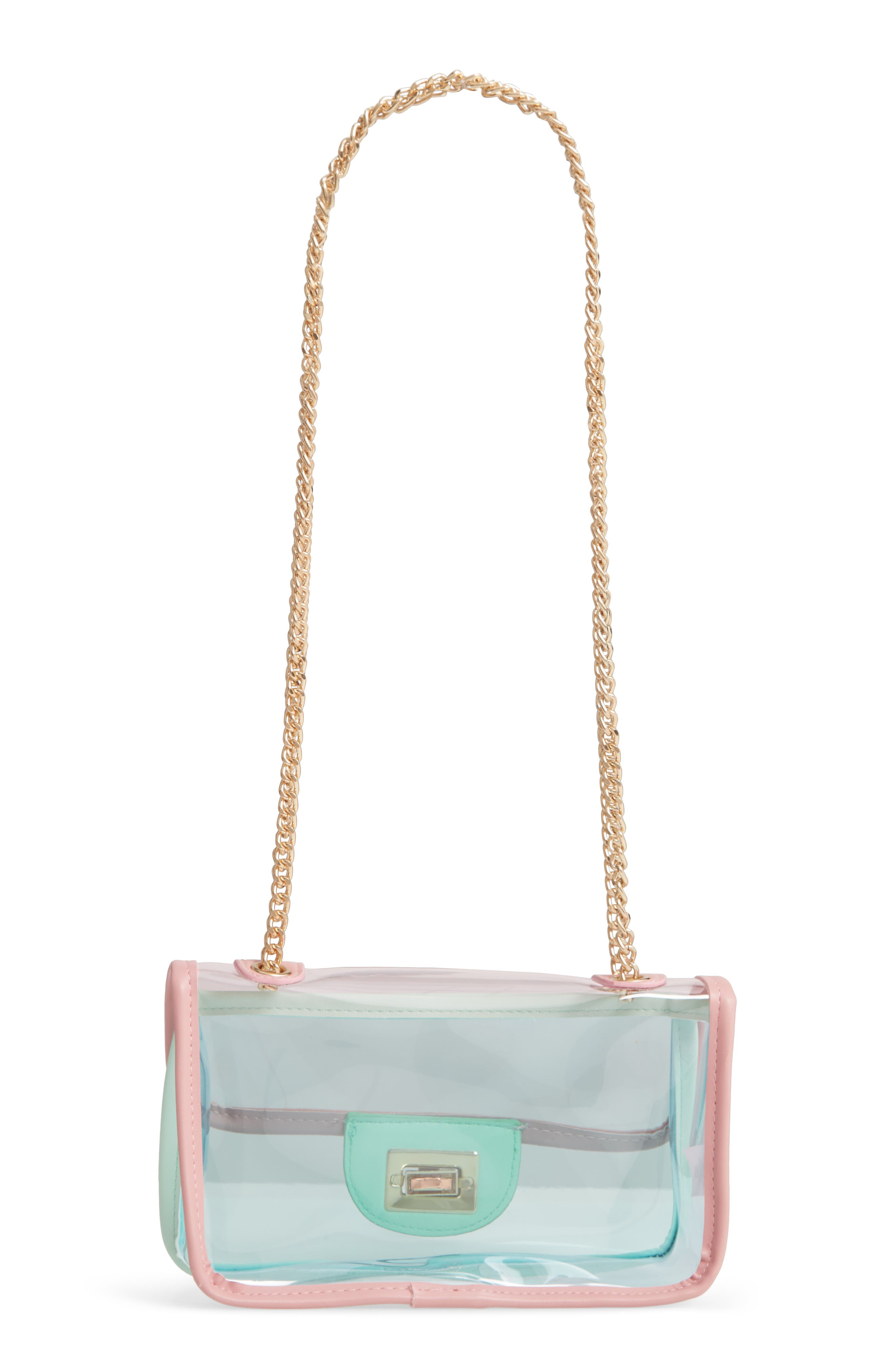 JANE & BERRY, Transparent Crossbody Bag, Alternate thumbnail 5, color, PINK MULTI