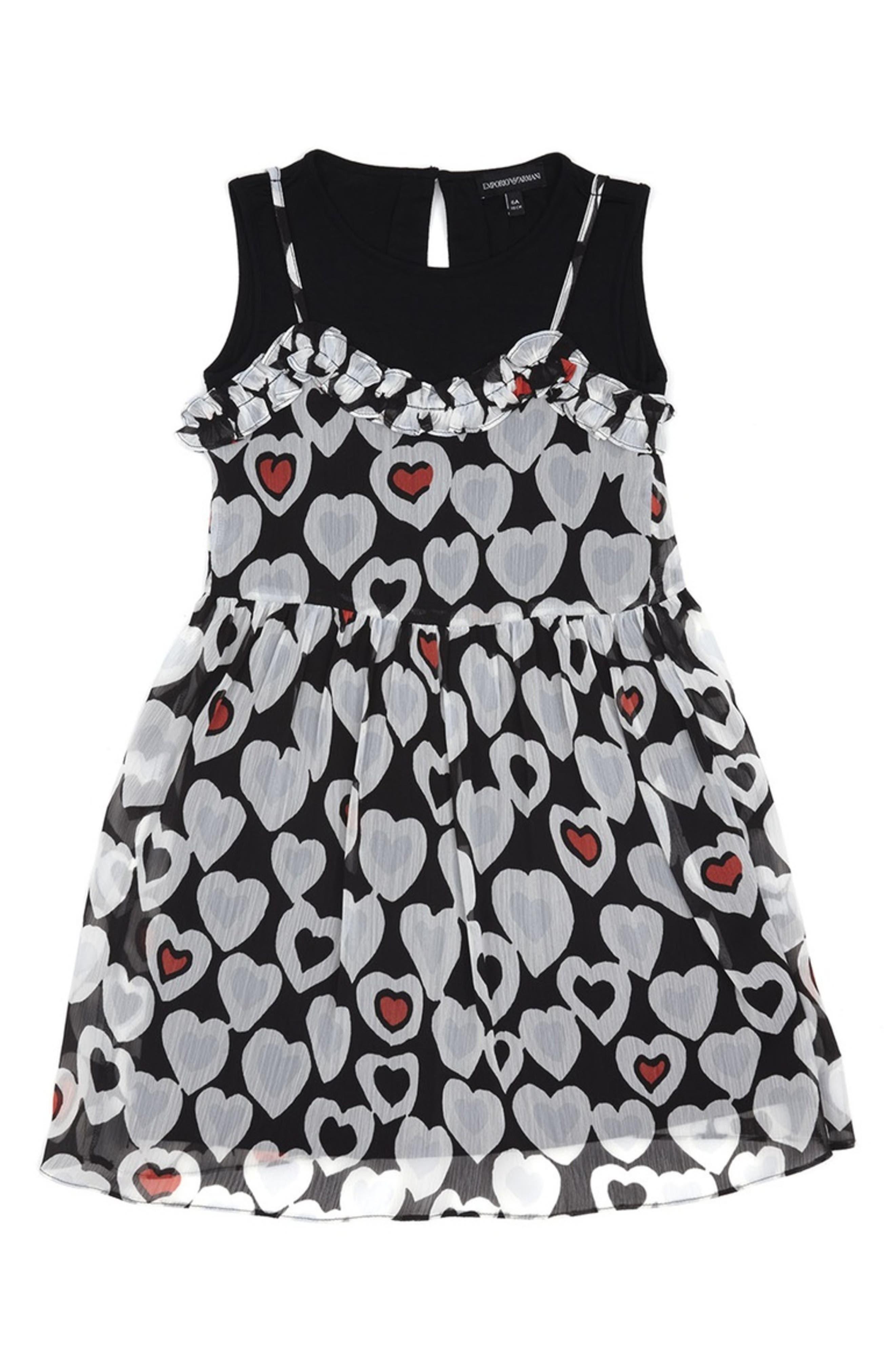 ARMANI JUNIOR, Heart Print Sleeveless Dress, Main thumbnail 1, color, 001
