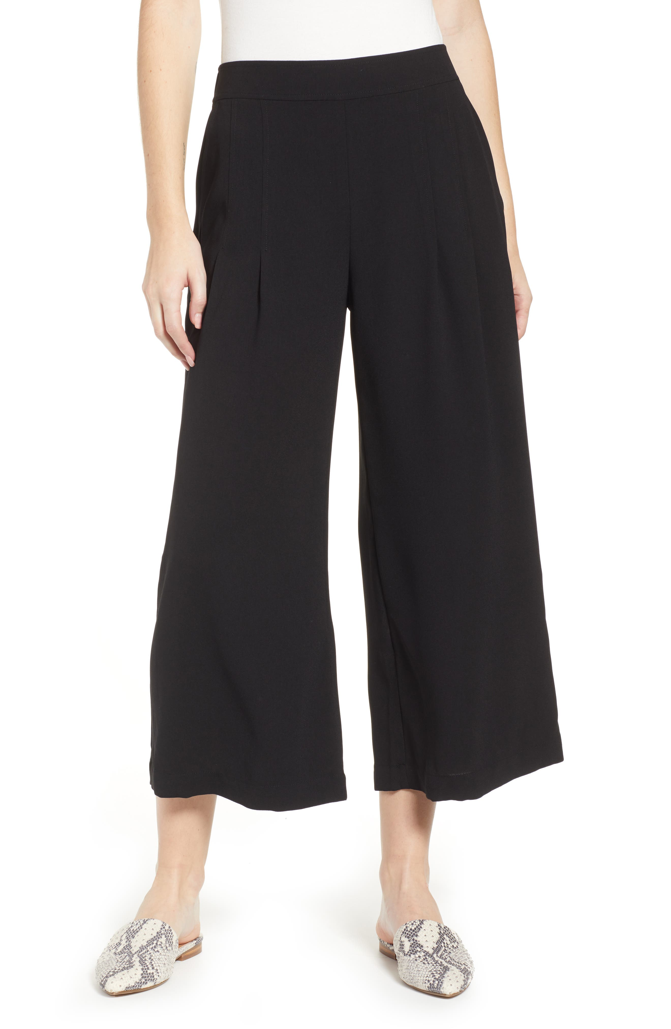 BP., High Waist Soft Wide Leg Crop Pants, Main thumbnail 1, color, BLACK